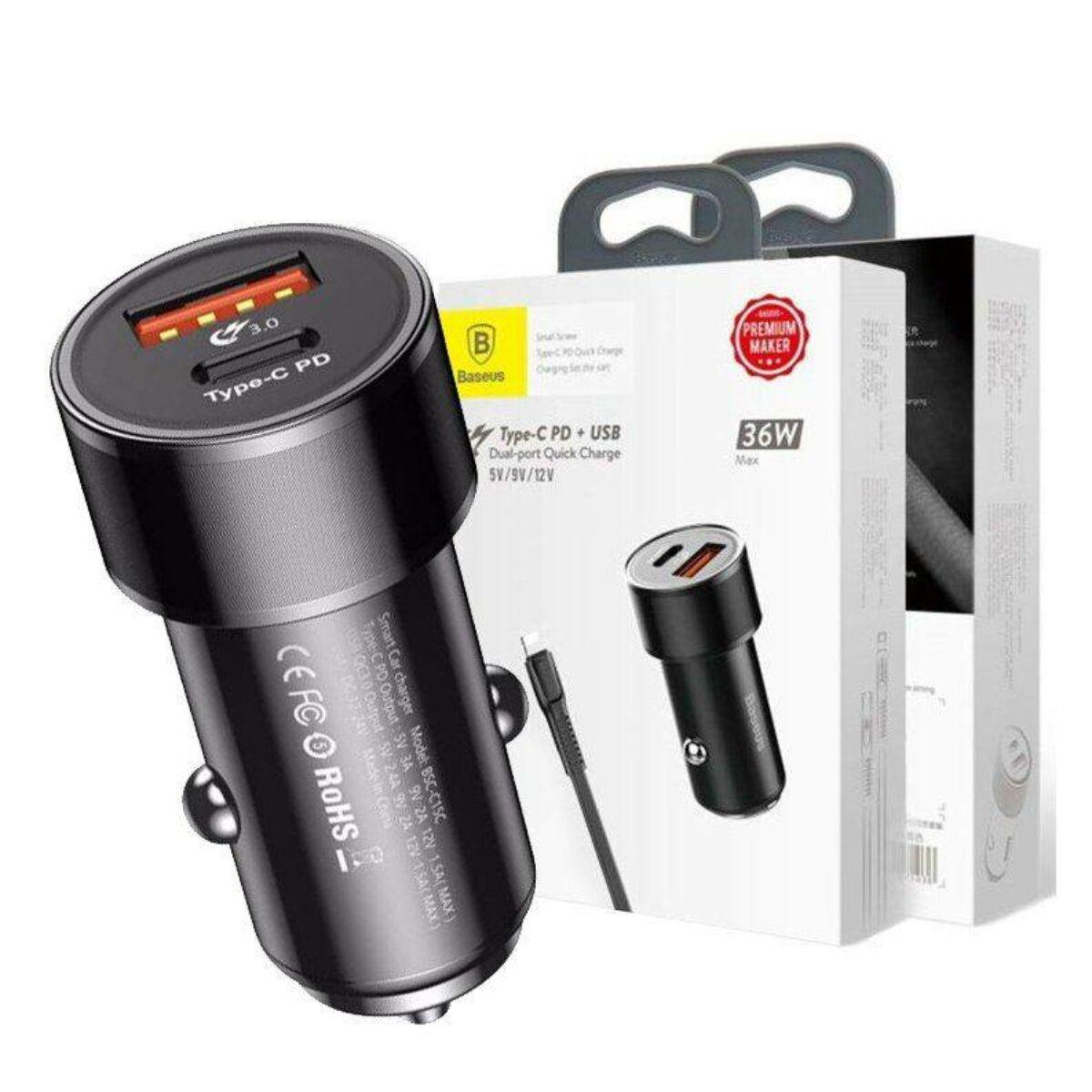 Baseus autós töltő, Small Screw Type-C PD gyors töltés 36W, fekete (TZXLD-01)