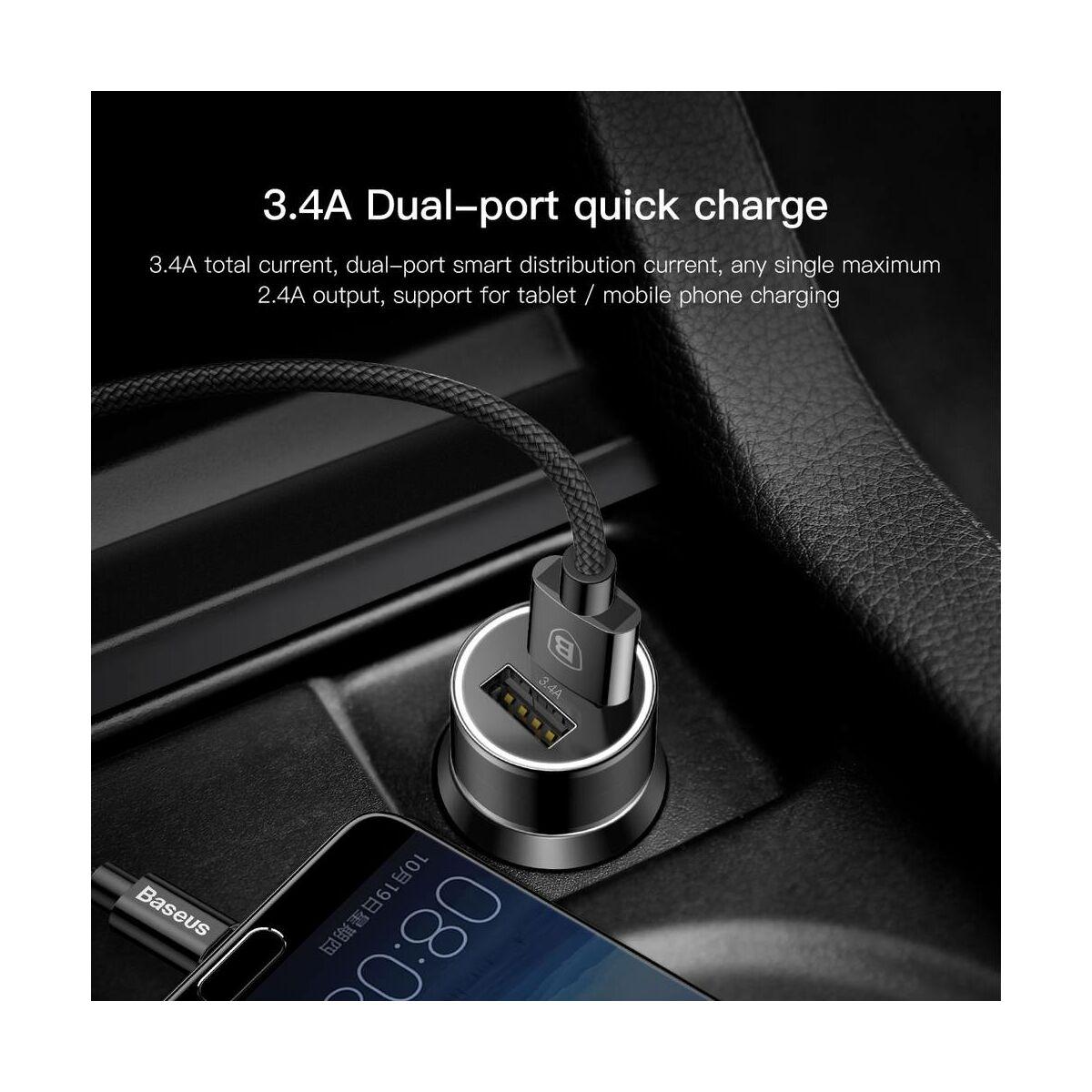 Baseus autós töltő, Small Screw Dupla USB Type-C kábel, (2A, 1m) a csomagban, max 3.4A, fekete (TZXLD-B01)