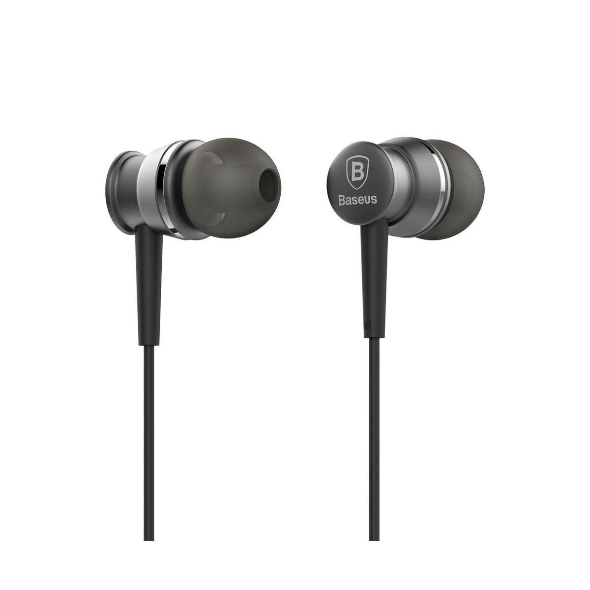 Baseus fülhallgató, Lark series, mini jack, vezetékes, vezérlővel, szürke (WEBASEEJ-LA0G)