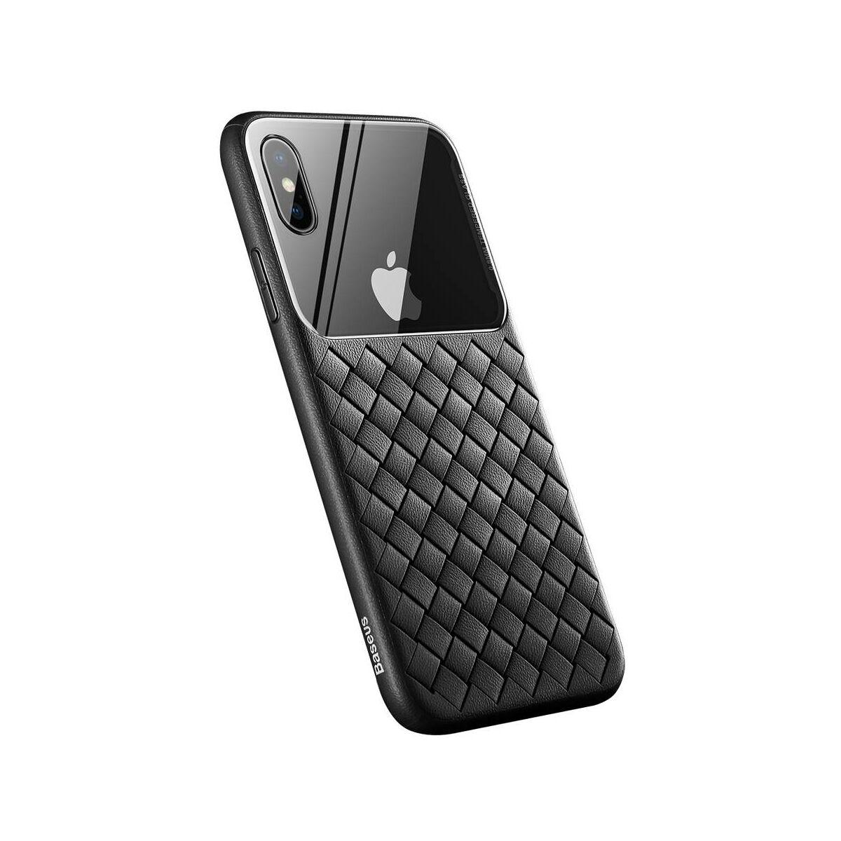 Baseus iPhone XS üveg & tok, BV Weaving, fekete (WIAPIPH58-BL01)