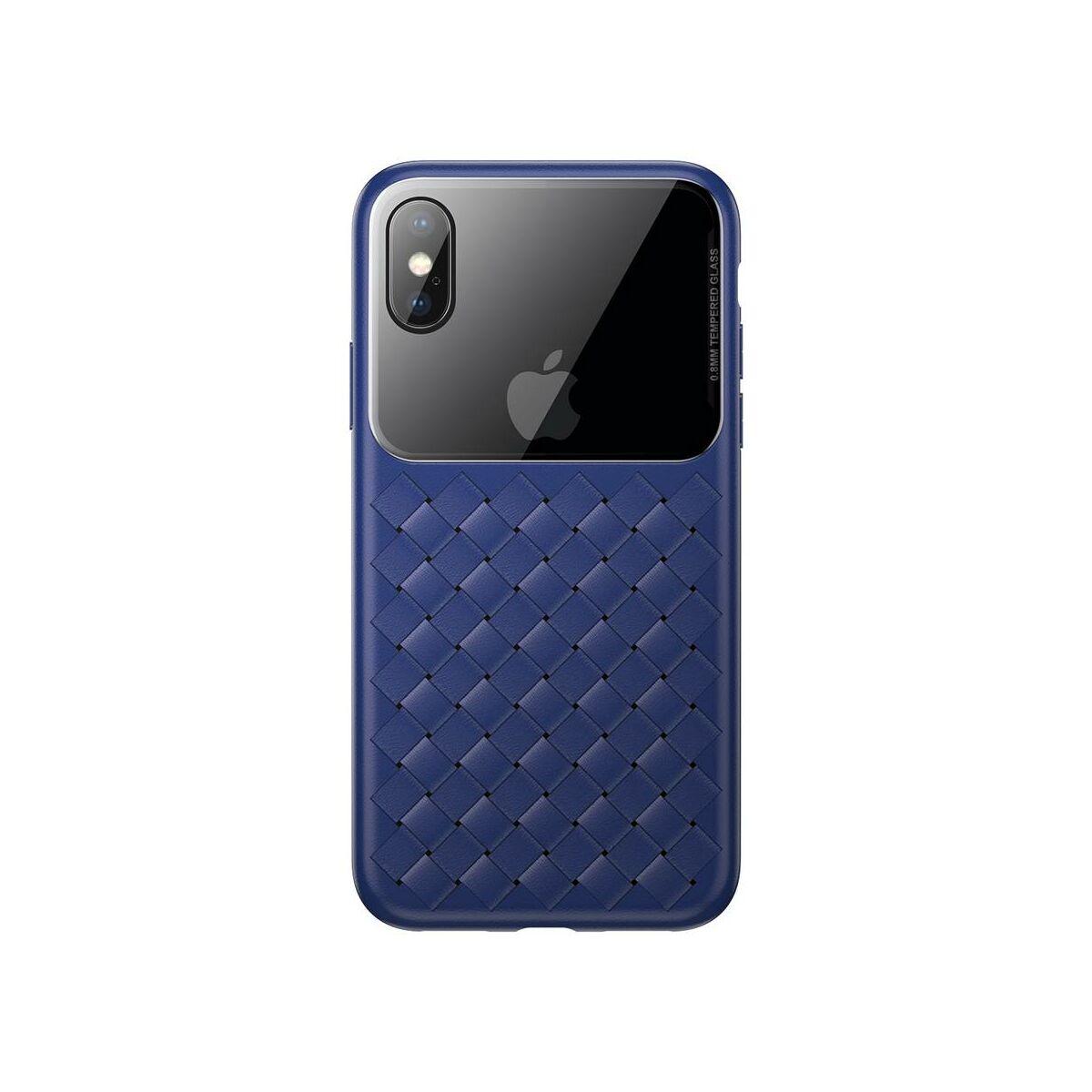 Baseus iPhone XS üveg & tok, BV Weaving, kék (WIAPIPH58-BL03)