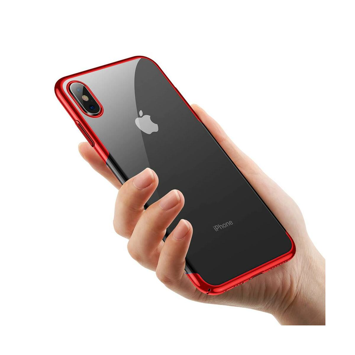 Baseus iPhone XS tok, Glitter, piros (WIAPIPH58-DW09)