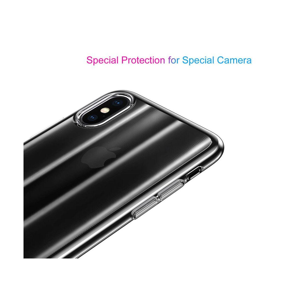 Baseus iPhone XS tok, Aurora, átlátszó, fekete (WIAPIPH58-JG01)