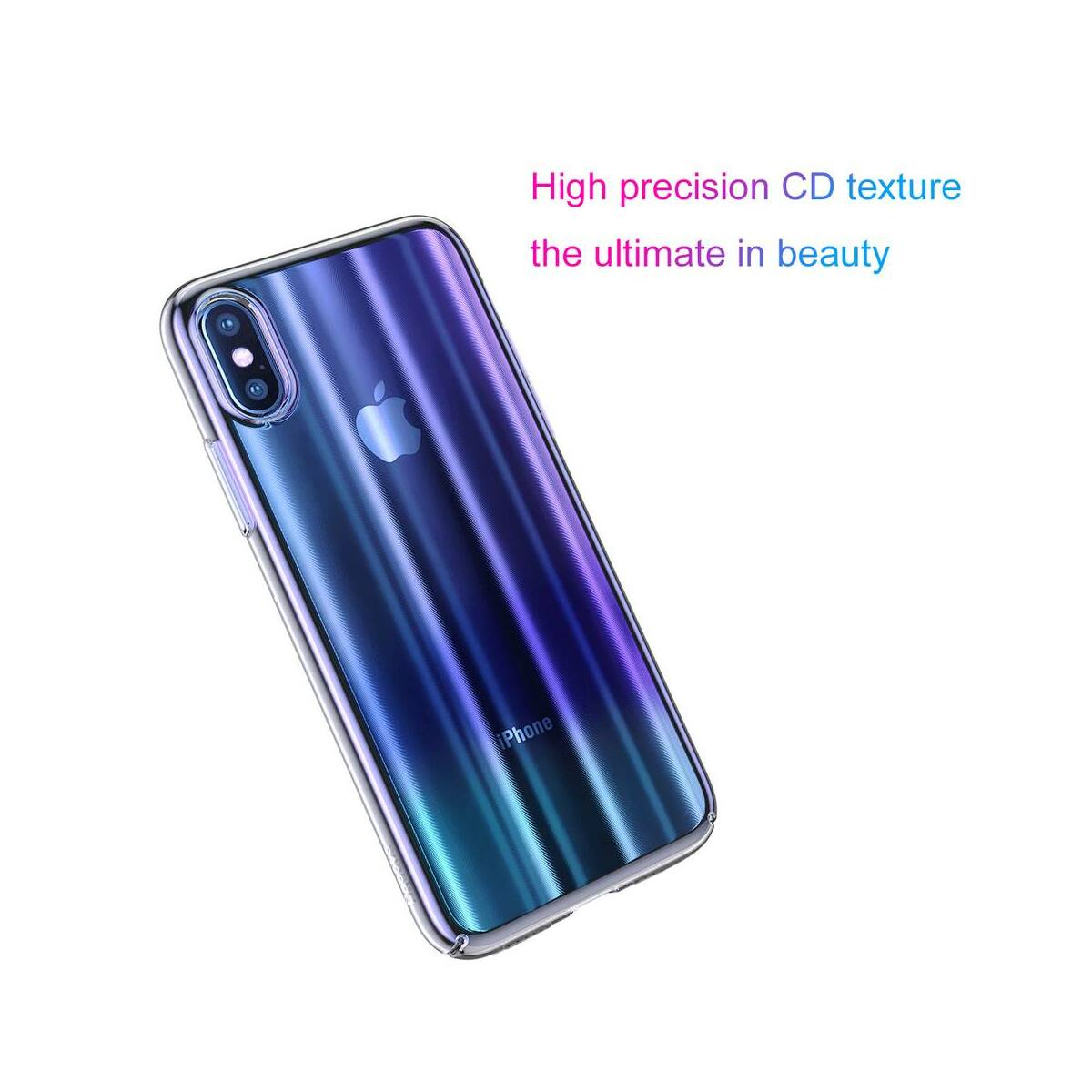 Baseus iPhone XS tok, Aurora, átlátszó, kék (WIAPIPH58-JG03)