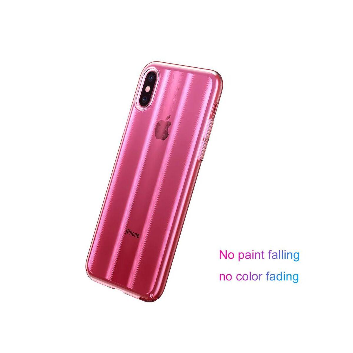 Baseus iPhone XS tok, Aurora, átlátszó, rózsaszín (WIAPIPH58-JG04)