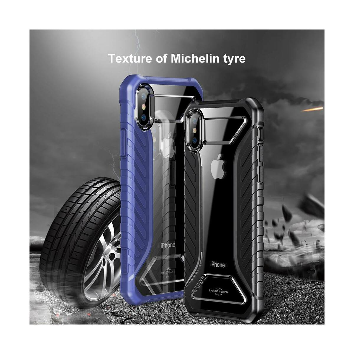 Baseus iPhone XS tok, Michelin, kék (WIAPIPH58-MK03)