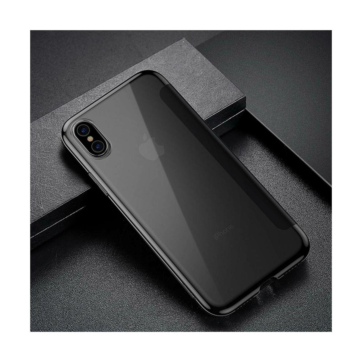 Baseus iPhone XS tok, Touchable kihajtható, érintőfelületű tok, fekete (WIAPIPH58-TS01)