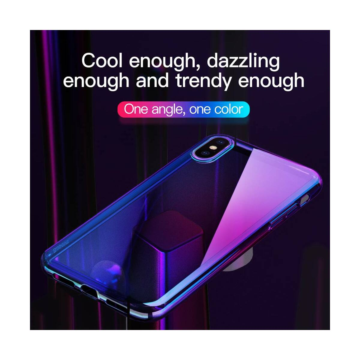 Baseus iPhone XS tok, Glow, átlátszó, fekete (WIAPIPH58-XG01)
