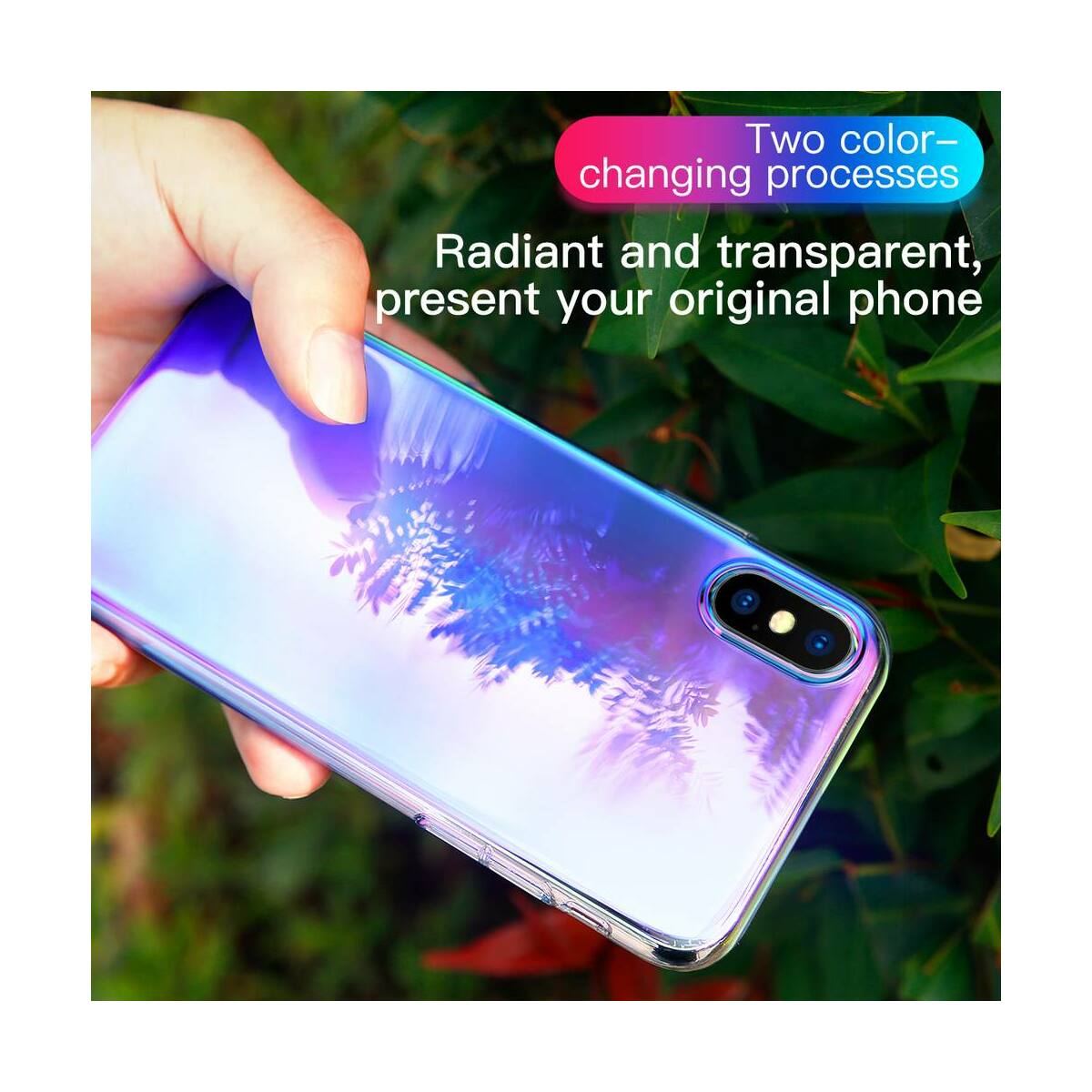 Baseus iPhone XS tok, Glow, átlátszó, kék (WIAPIPH58-XG03)