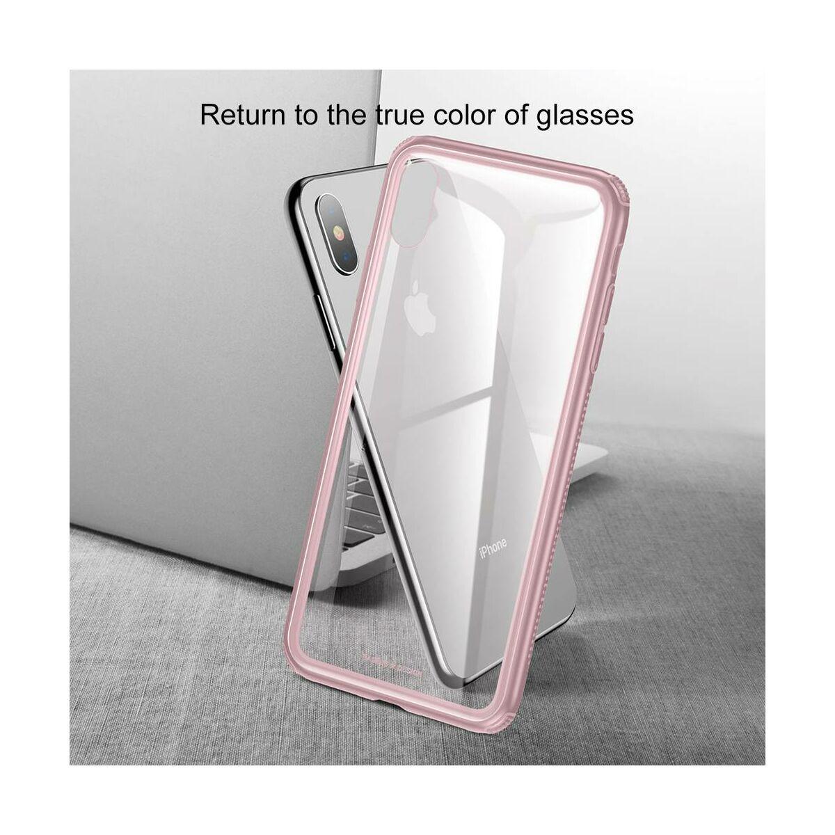 Baseus iPhone XS tok, átlátszó, oldalkerettel, rózsaszín (WIAPIPH58-YS04)