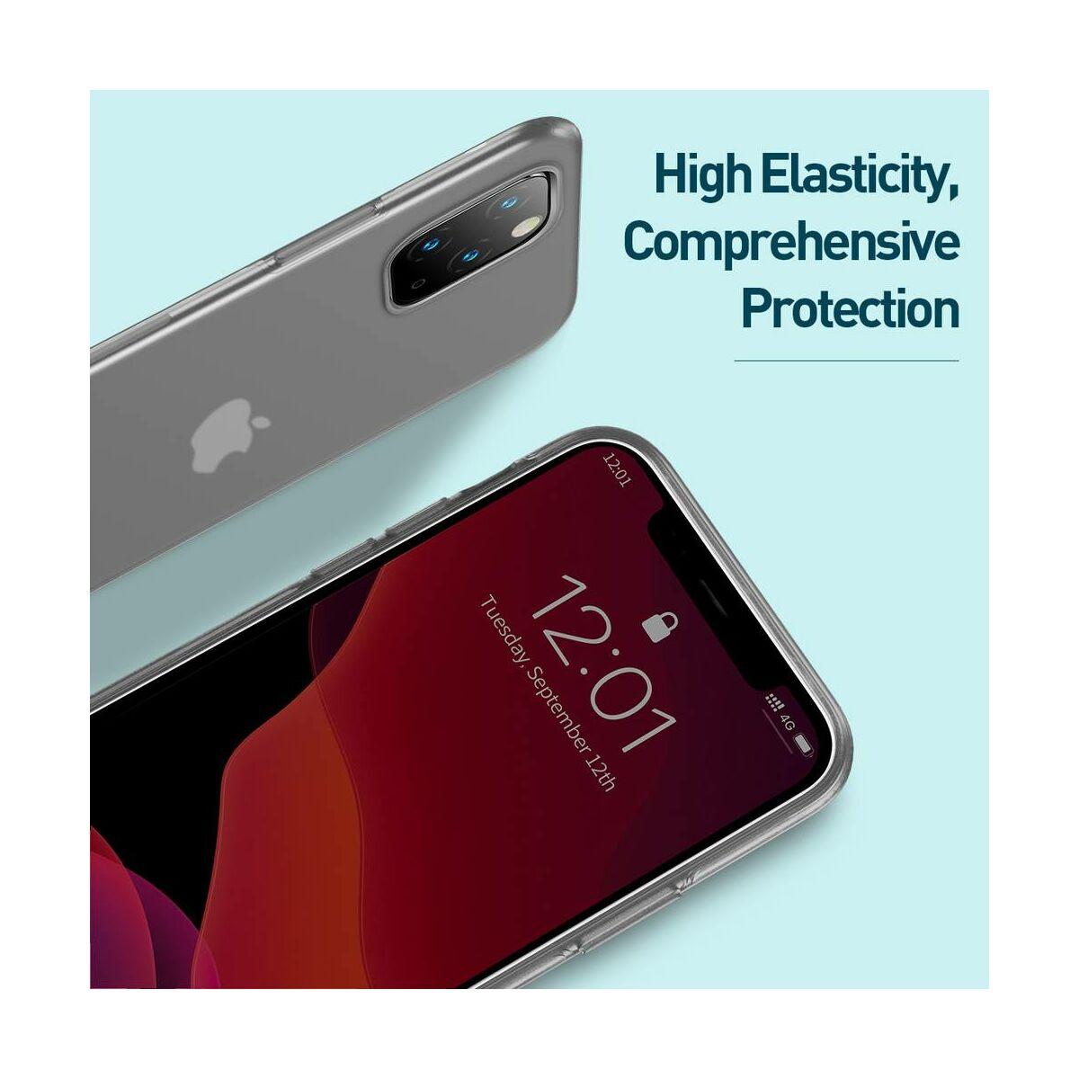 Baseus iPhone 11 Pro tok, Jelly Liquid Silica Gel Protective tok, átlátszó fekete (WIAPIPH58S-GD01