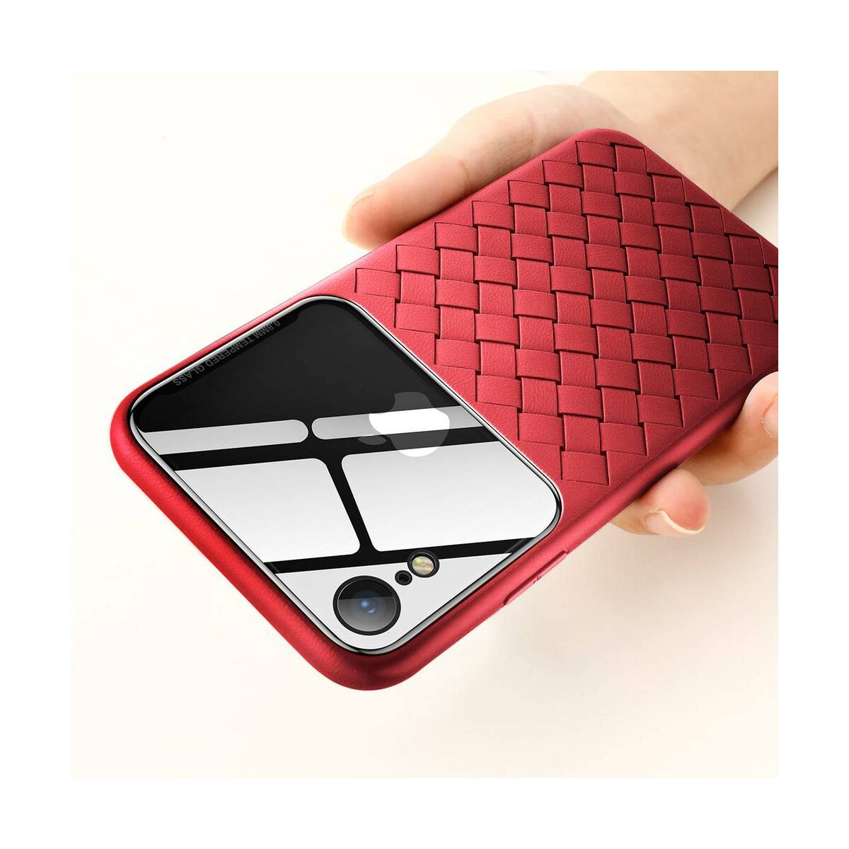 Baseus iPhone XR üveg & tok, BV Weaving, piros (WIAPIPH61-BL09)