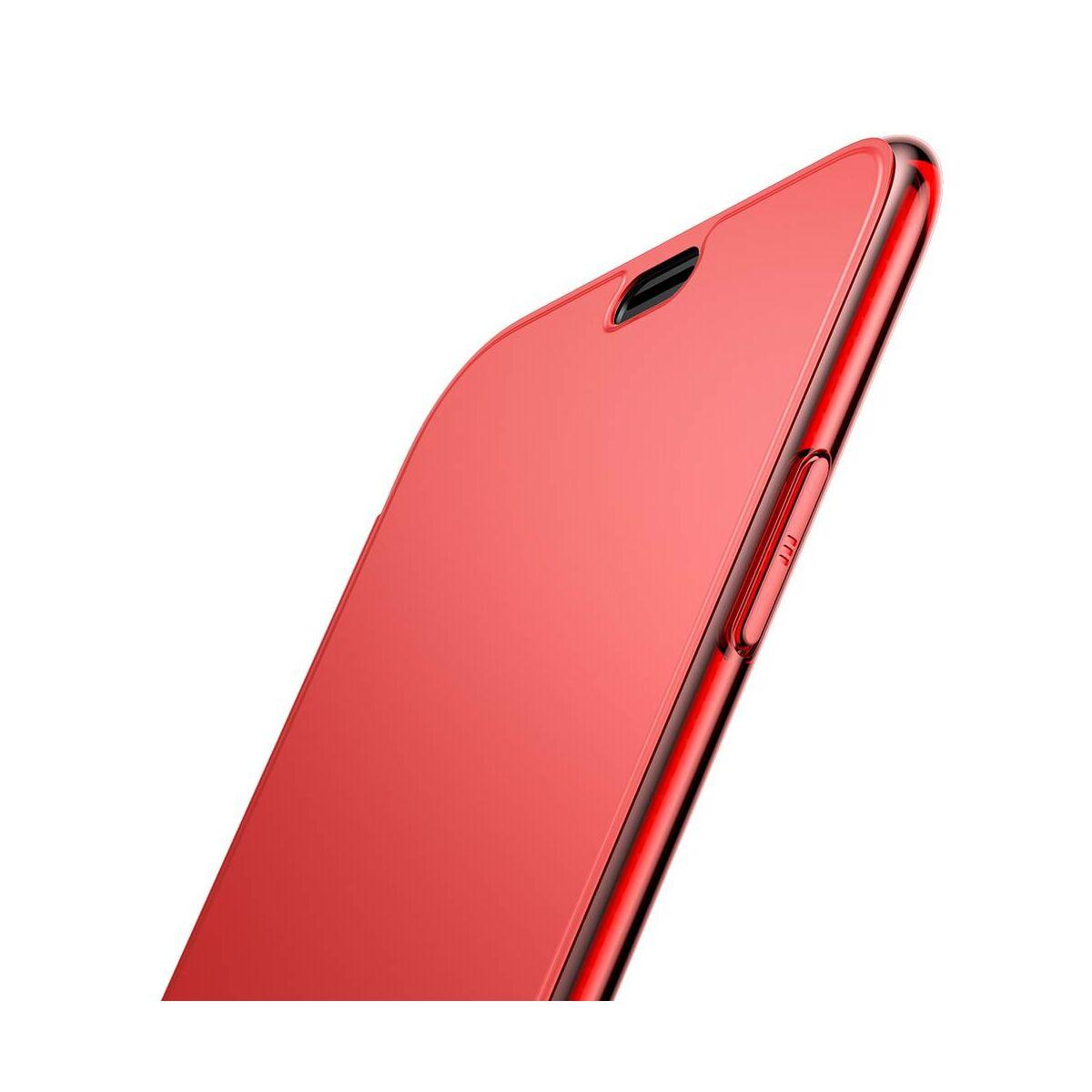 Baseus iPhone XR tok,tok, Touchable kihajtható, érintőfelületű flip tok, piros (WIAPIPH61-TS09)