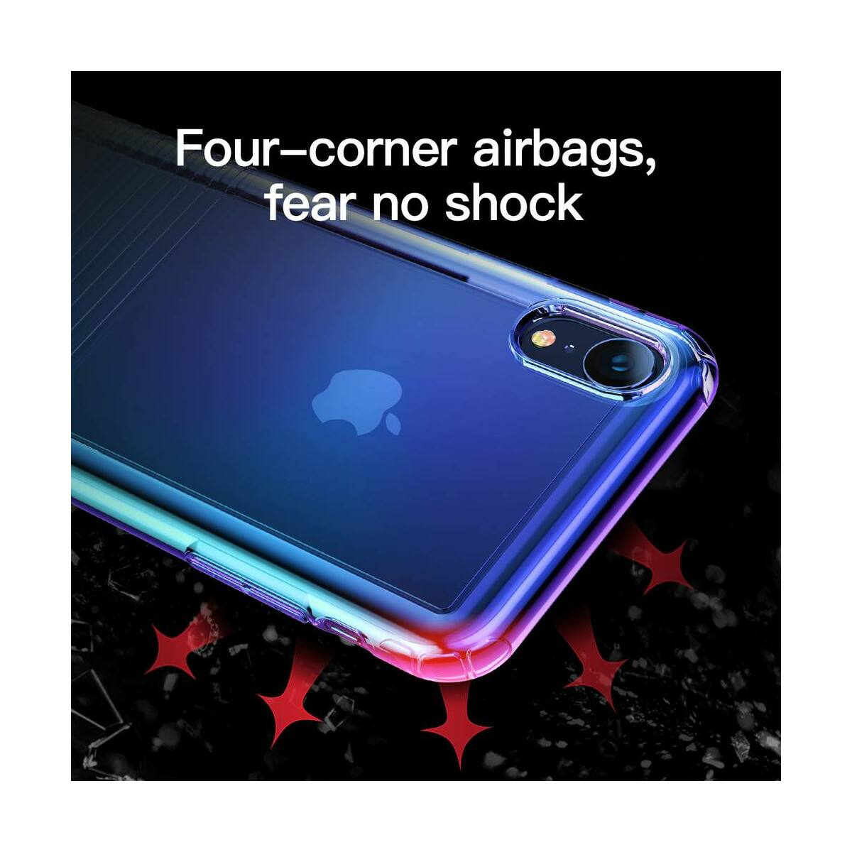 Baseus iPhone XR tok, Colorful Airbag védelem, fekete (WIAPIPH61-XC01)