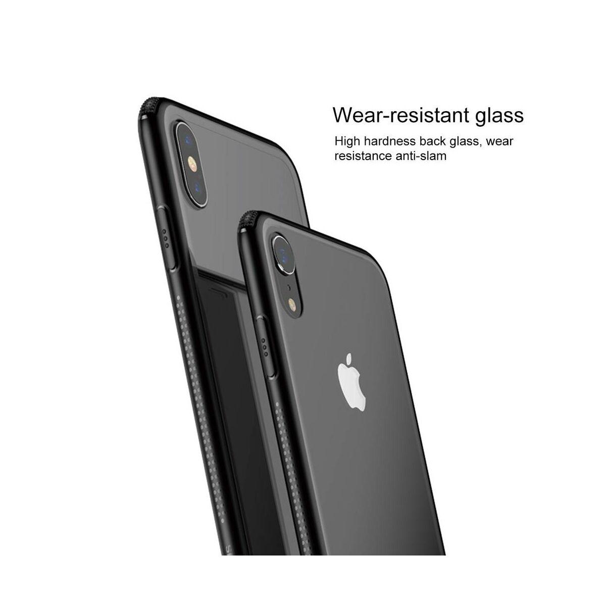 Baseus iPhone XR tok, átlátszó, oldalkerettel, fekete (WIAPIPH61-YS01)