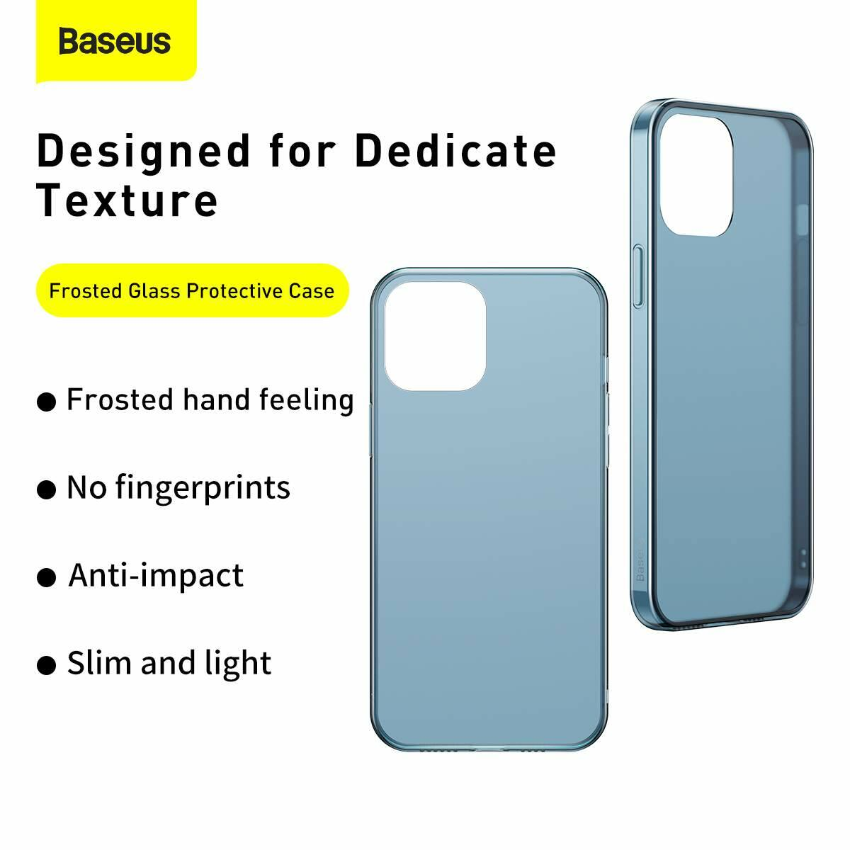 Baseus iPhone 12/12 Pro tok, Frosted Glass, fekete (WIAPIPH61P-WS01)