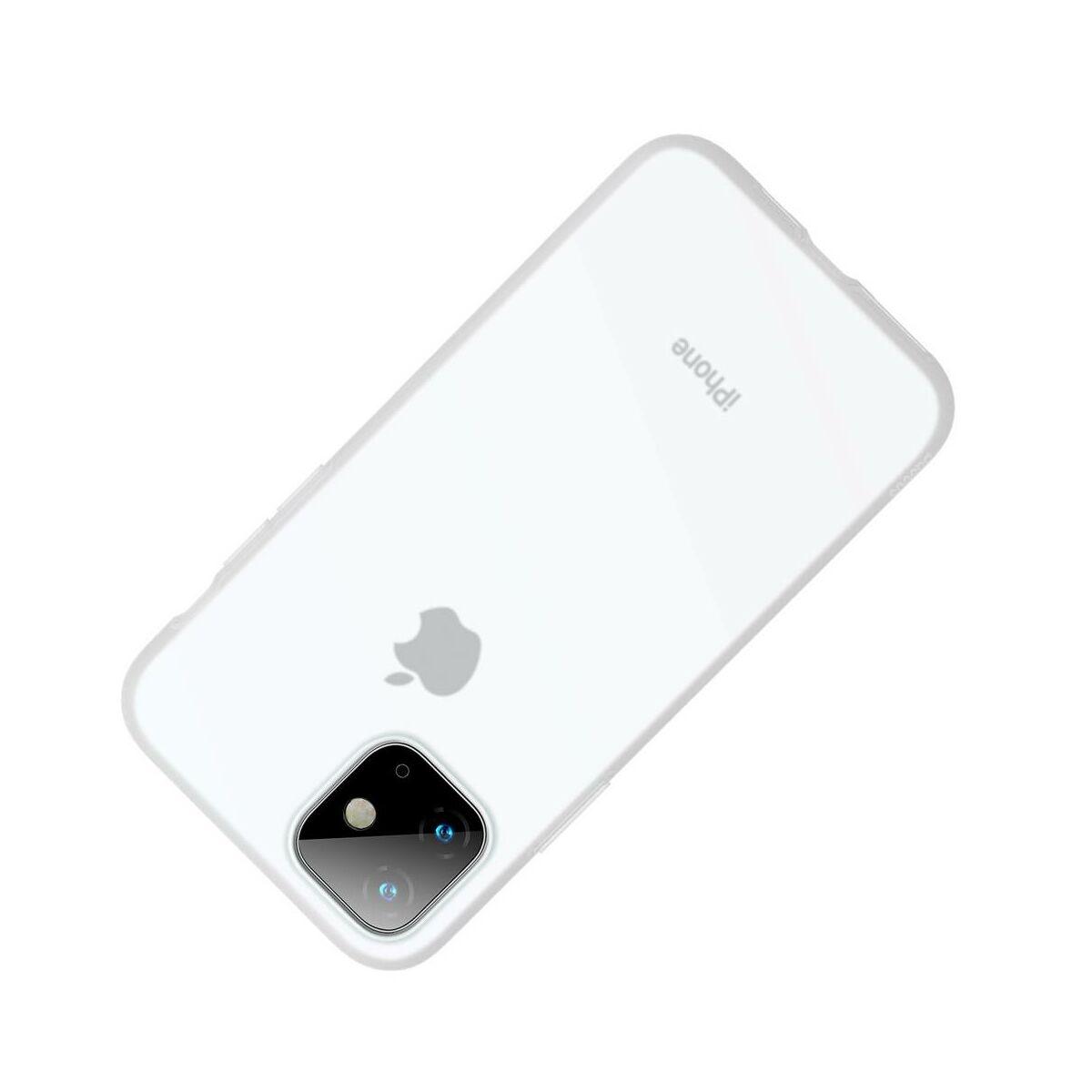 Baseus iPhone 11 tok, Jelly Liquid Silica Gel Protective, átlátszó fehér (WIAPIPH61S-GD02)