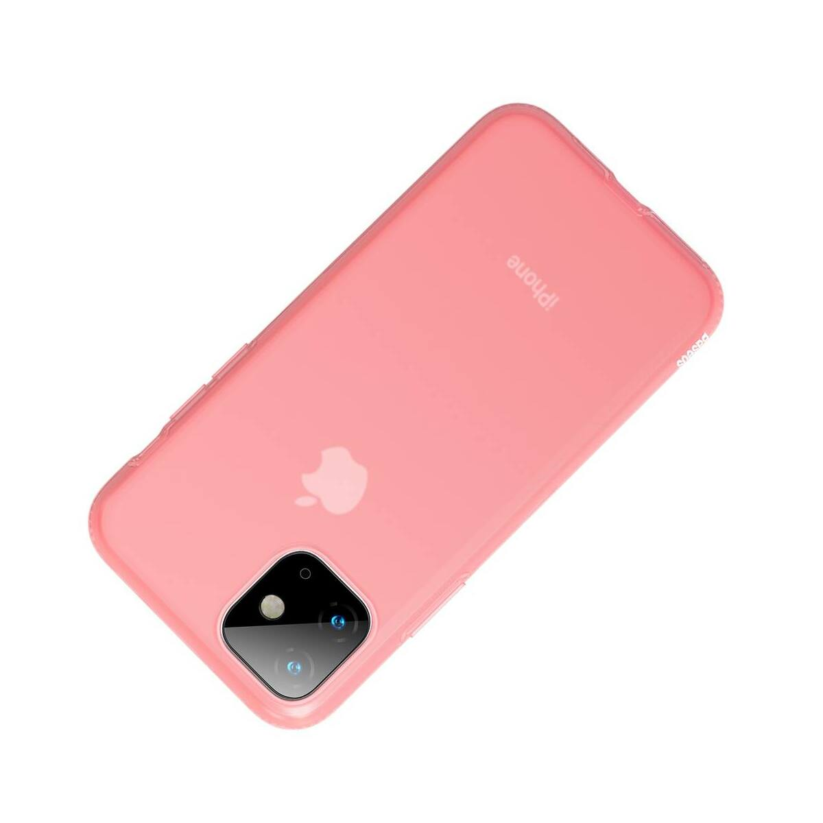 Baseus iPhone 11 tok, Jelly Liquid Silica Gel Protective, átlátszó piros (WIAPIPH61S-GD09)