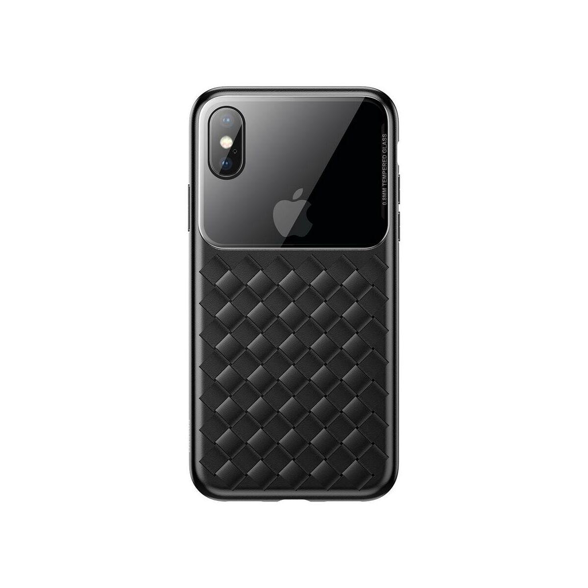 Baseus iPhone XS Max üveg & tok, BV Weaving, fekete (WIAPIPH65-BL01)