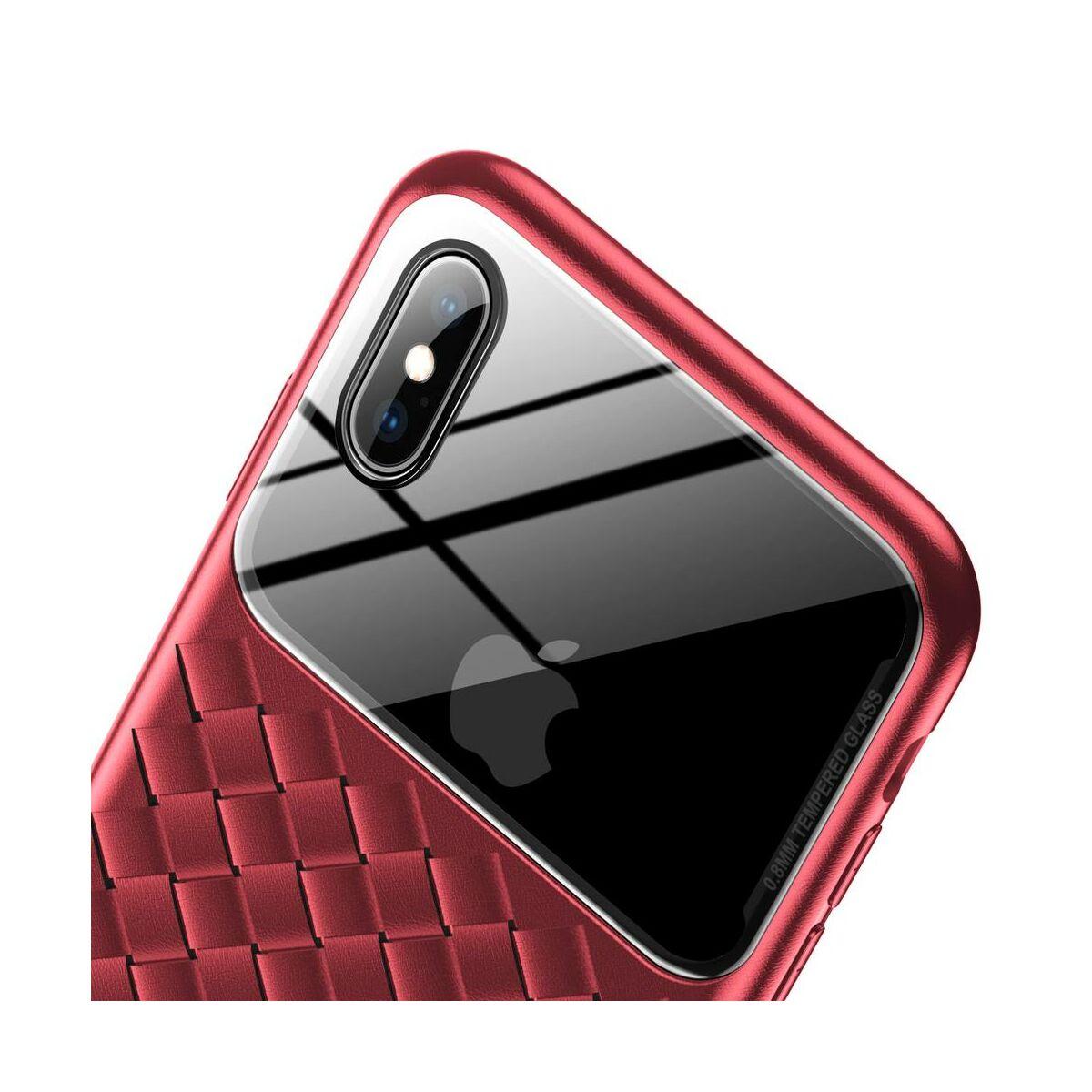 Baseus iPhone XS Max üveg & tok, BV Weaving, piros (WIAPIPH65-BL09)
