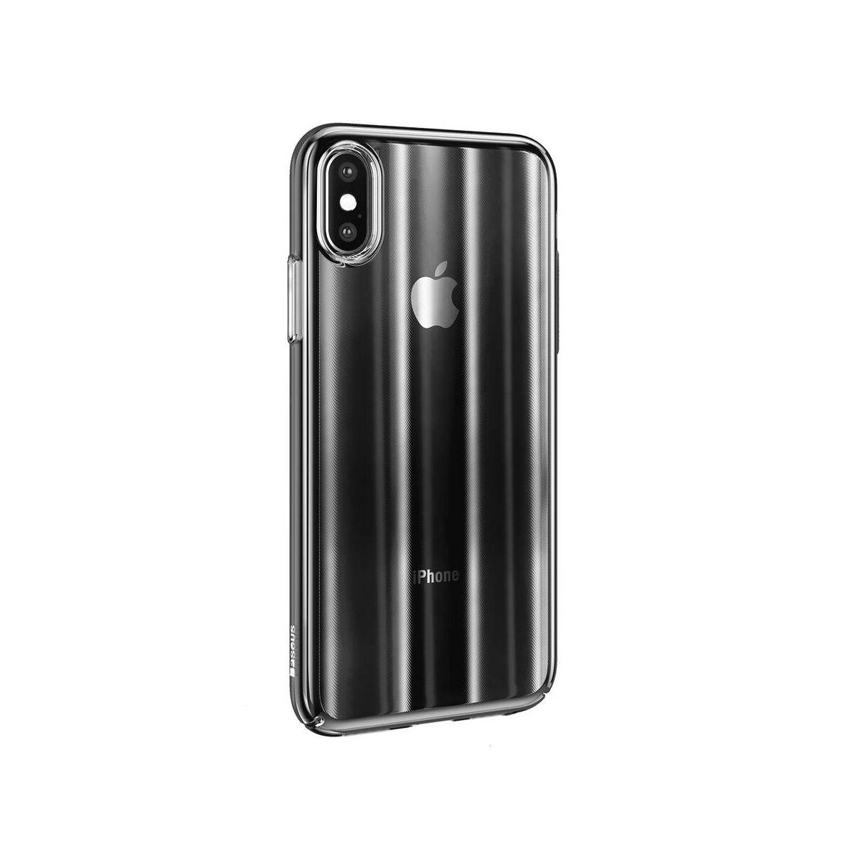 Baseus iPhone XS Max tok, Aurora, átlátszó, fekete (WIAPIPH65-JG01)