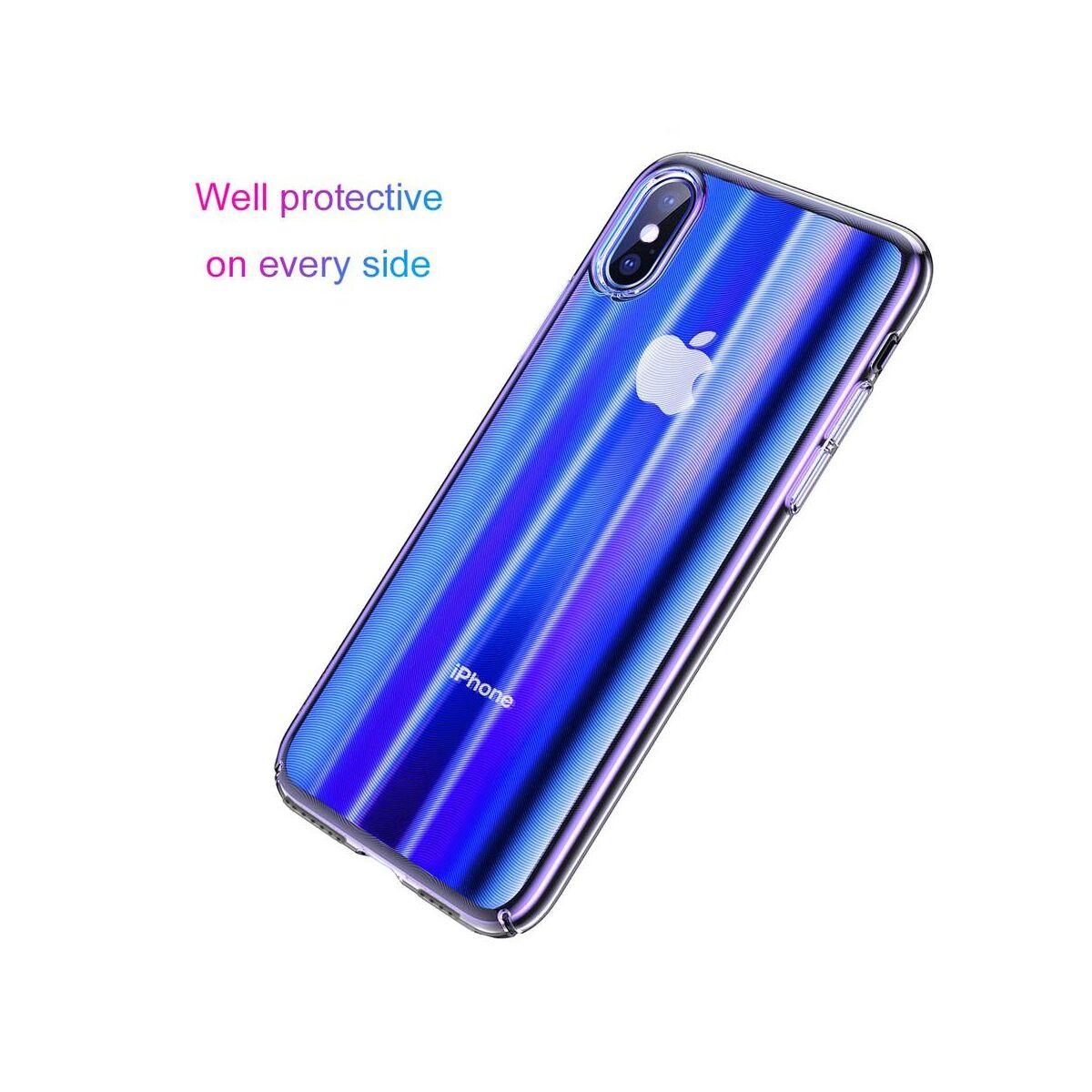 Baseus iPhone XS Max tok, Aurora, átlátszó, kék WIAPIPH65-JG03)