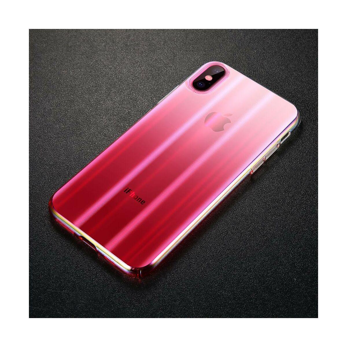 Baseus iPhone XS Max tok, Aurora, átlátszó, rózsaszín (WIAPIPH65-JG04)
