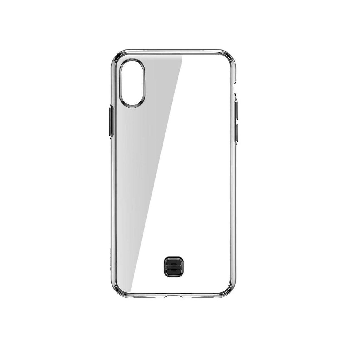 Baseus iPhone XS Max tok, átlátszó Key Phone ráfűzhető csuklótartóval, fekete (WIAPIPH65-QA01)