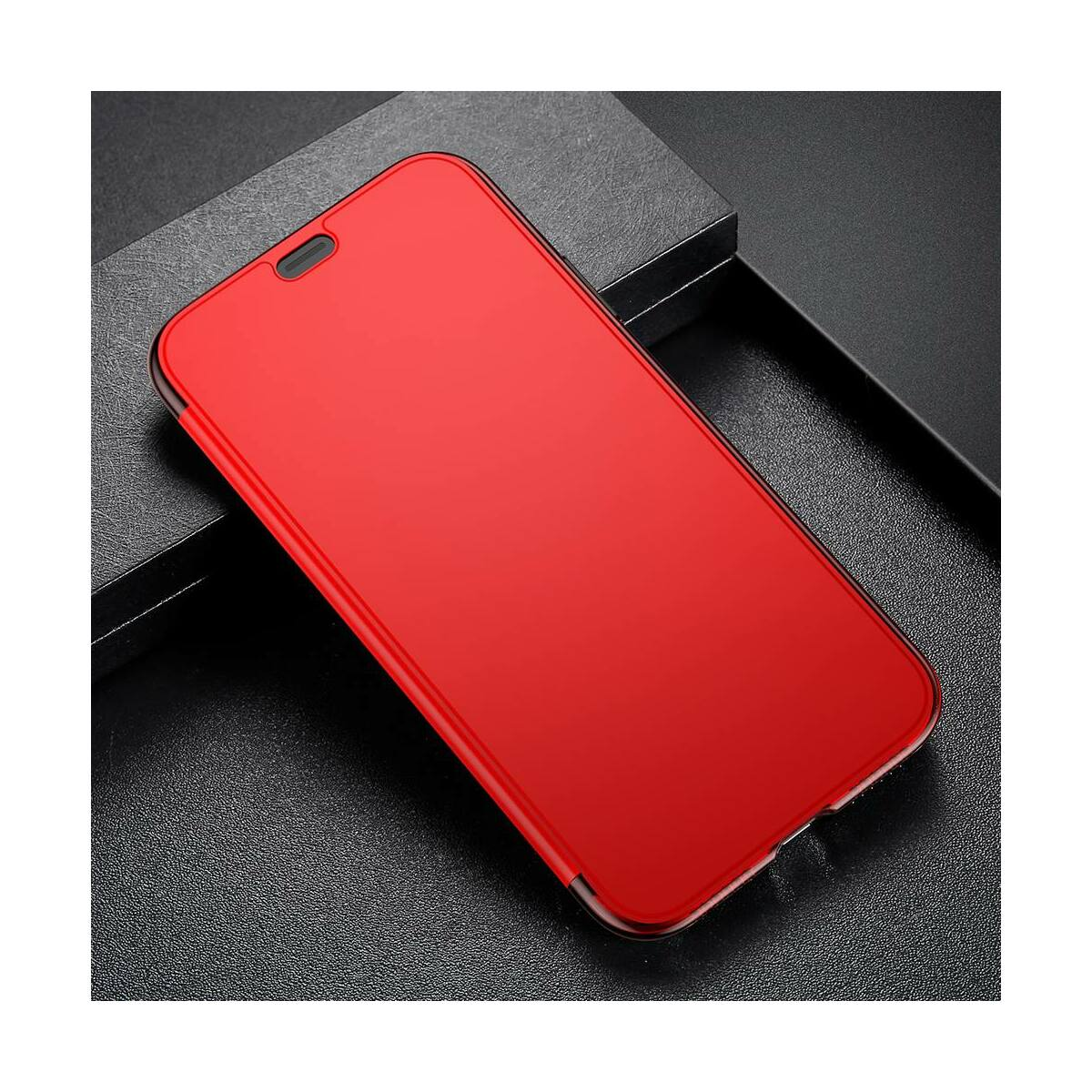 Baseus iPhone XS Max tok, Touchable kihajtható, érintőfelületű flip tok, piros (WIAPIPH65-TS09)