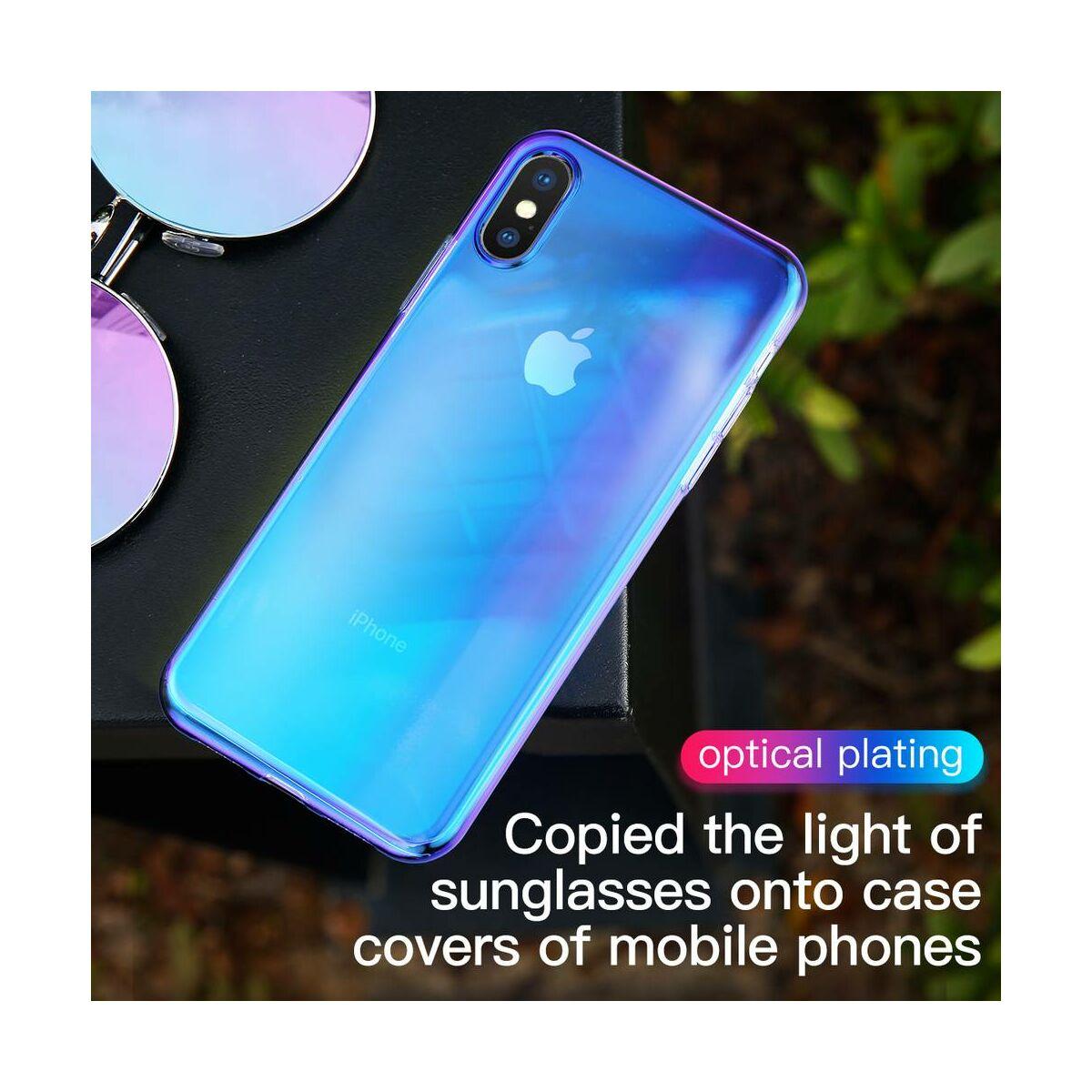 Baseus iPhone XS Max tok, Glow, átlátszó kék (WIAPIPH65-XG03)