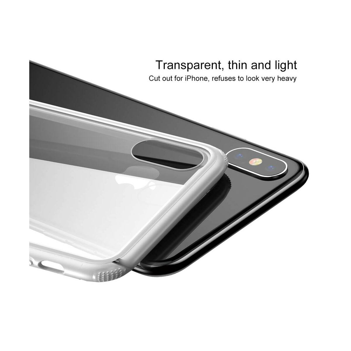 Baseus iPhone XS Max tok, átlátszó, oldalkerettel, fehér (WIAPIPH65-YS02)
