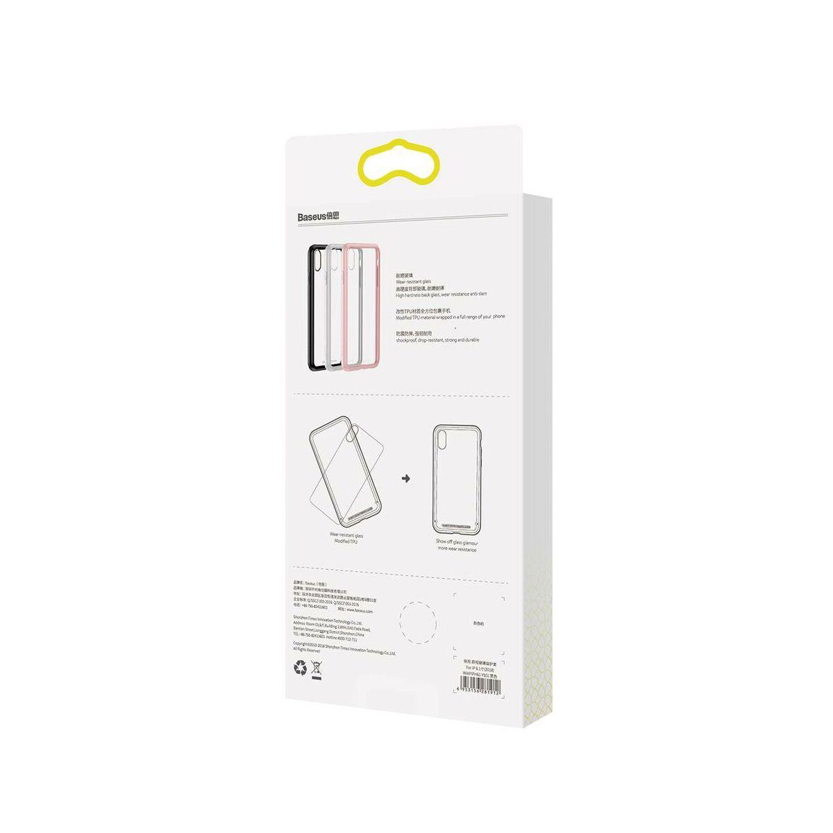 Baseus iPhone XS Max tok, átlátszó, oldalkerettel, rózsaszín (WIAPIPH65-YS04)