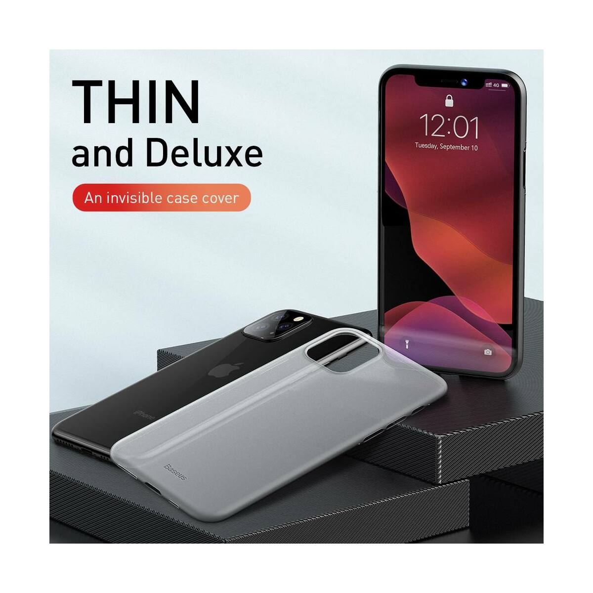 Baseus iPhone 11 Pro Max tok, Wing Solid, fekete (WIAPIPH65S-A01)