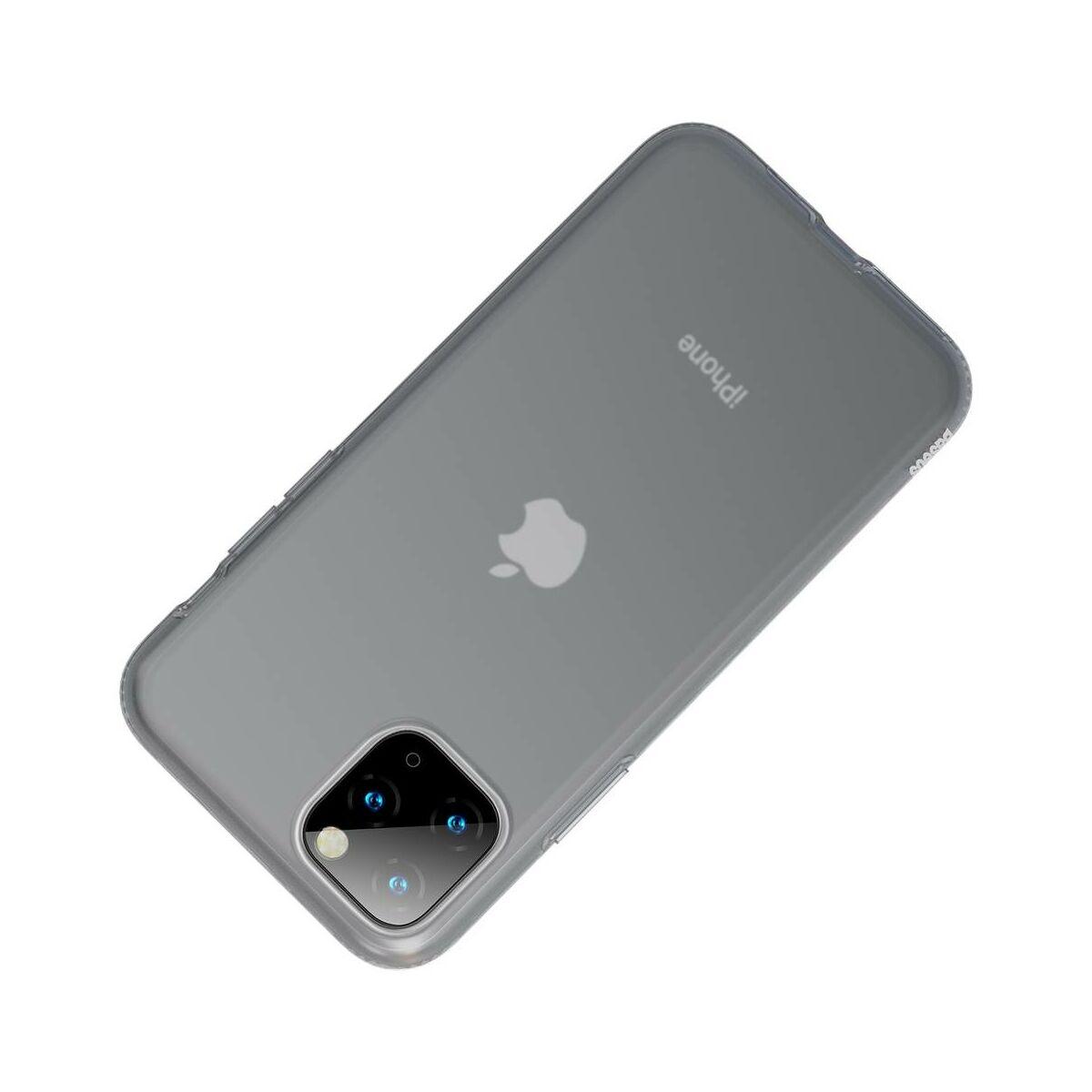 Baseus iPhone 11 Pro Max tok, Jelly Liquid Silica Gel Protective, átlátszó fekete (WIAPIPH65S-GD01)