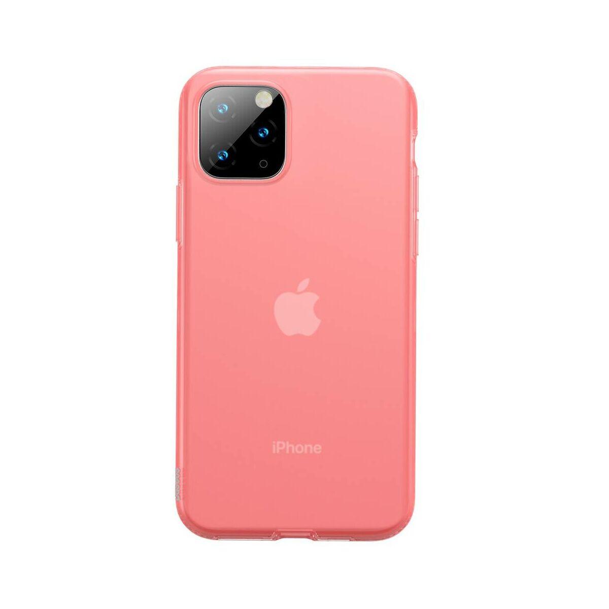 Baseus iPhone 11 Pro Max tok, Jelly Liquid Silica Gel Protective, átlátszó piros (WIAPIPH65S-GD09)