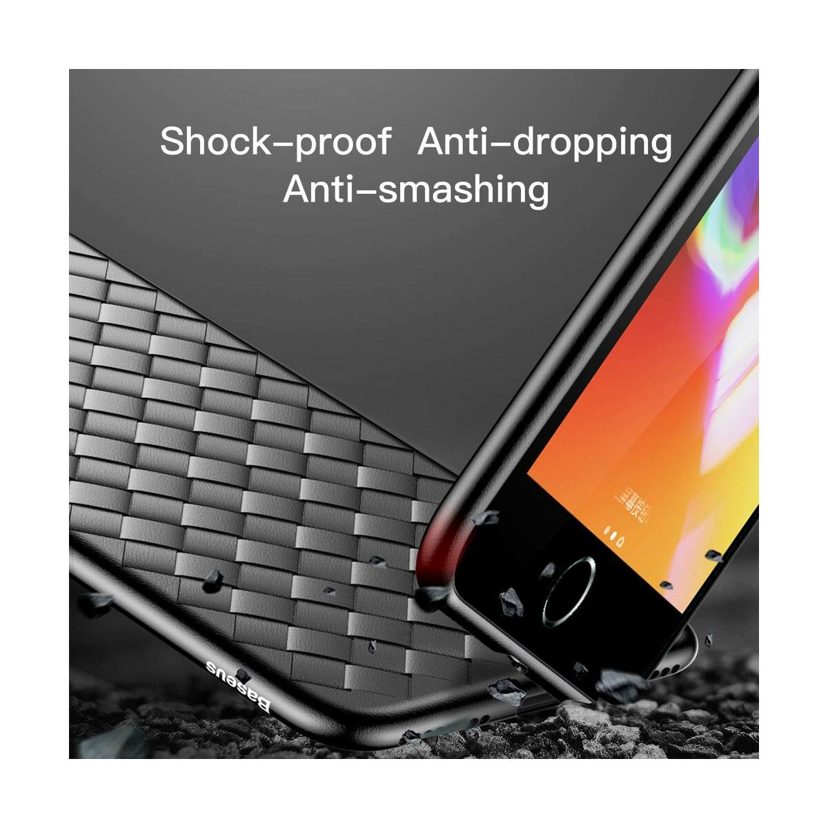 Baseus iPhone 8/7 Plus tok, BV Weaving, fekete (WIAPIPH8P-BV01)