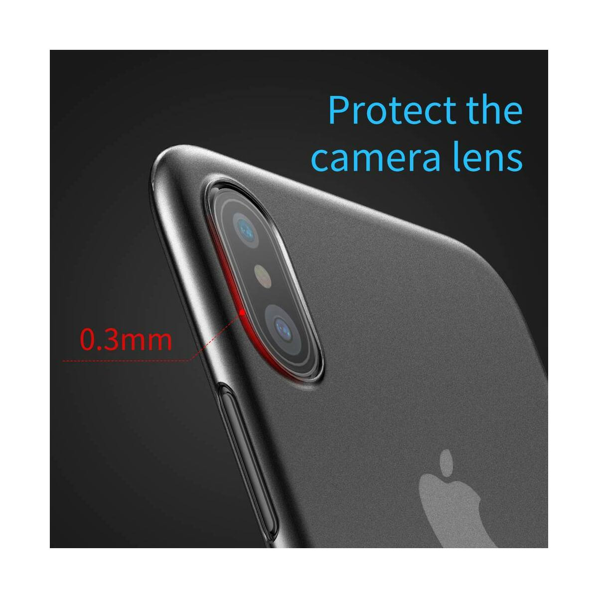 Baseus iPhone X/XS tok, Wing, átlátszó, fekete (WIAPIPHX-01)
