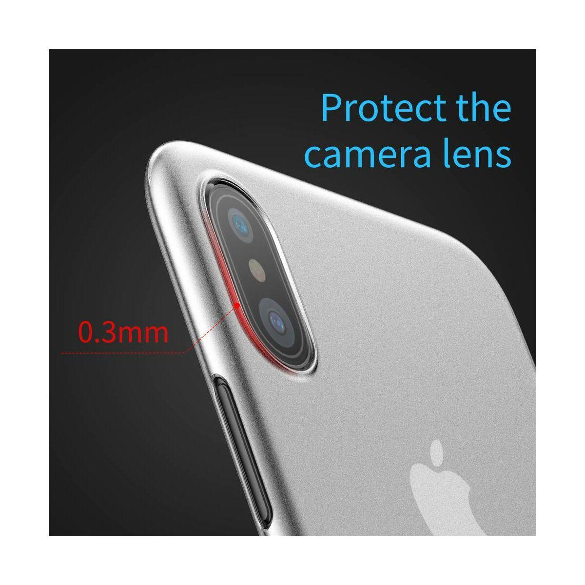 Baseus iPhone X/XS tok, Wing, átlátszó, fehér (WIAPIPHX-02)