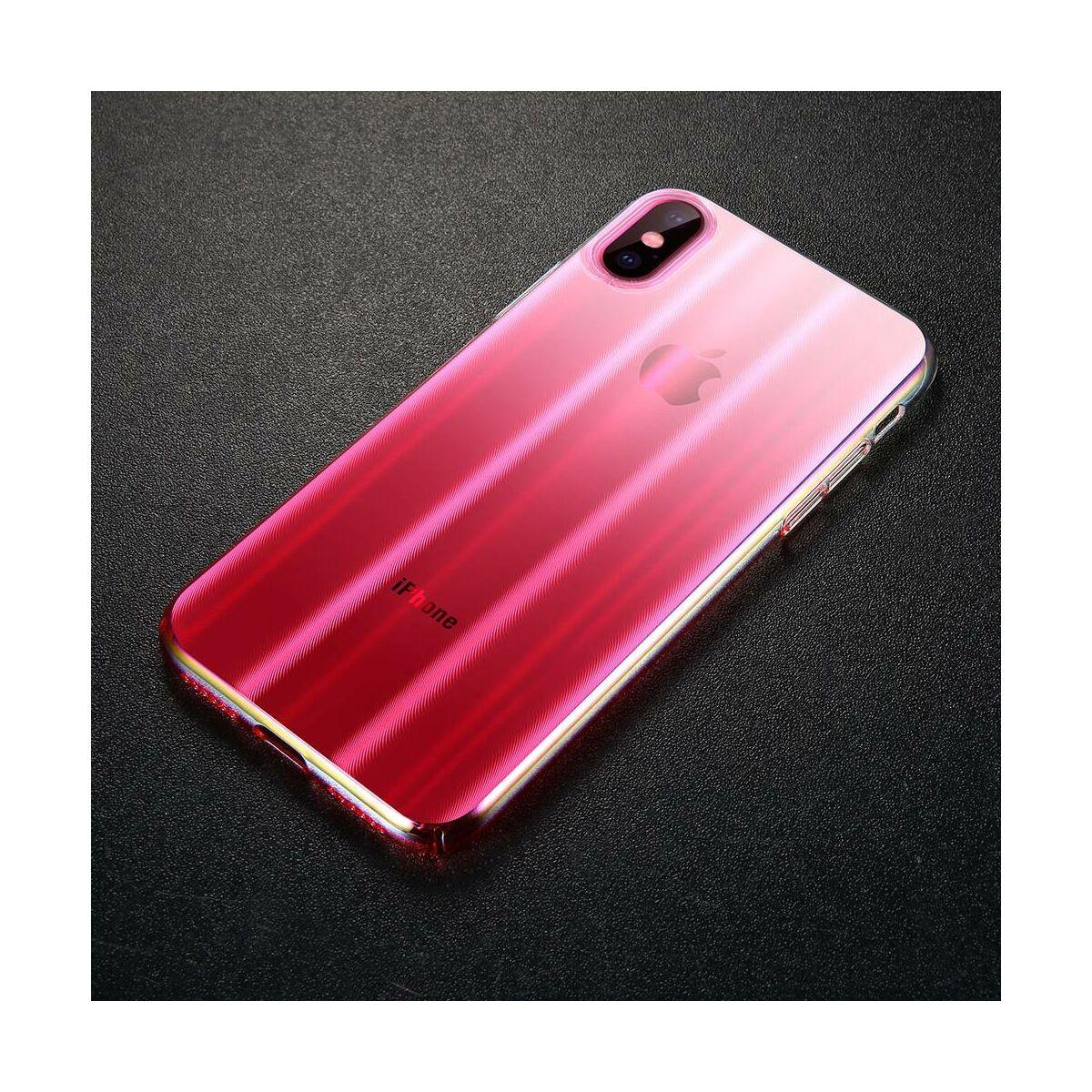 Baseus iPhone X/XS tok, Aurora, átlátszó, rózsaszín (WIAPIPHX-JG04)