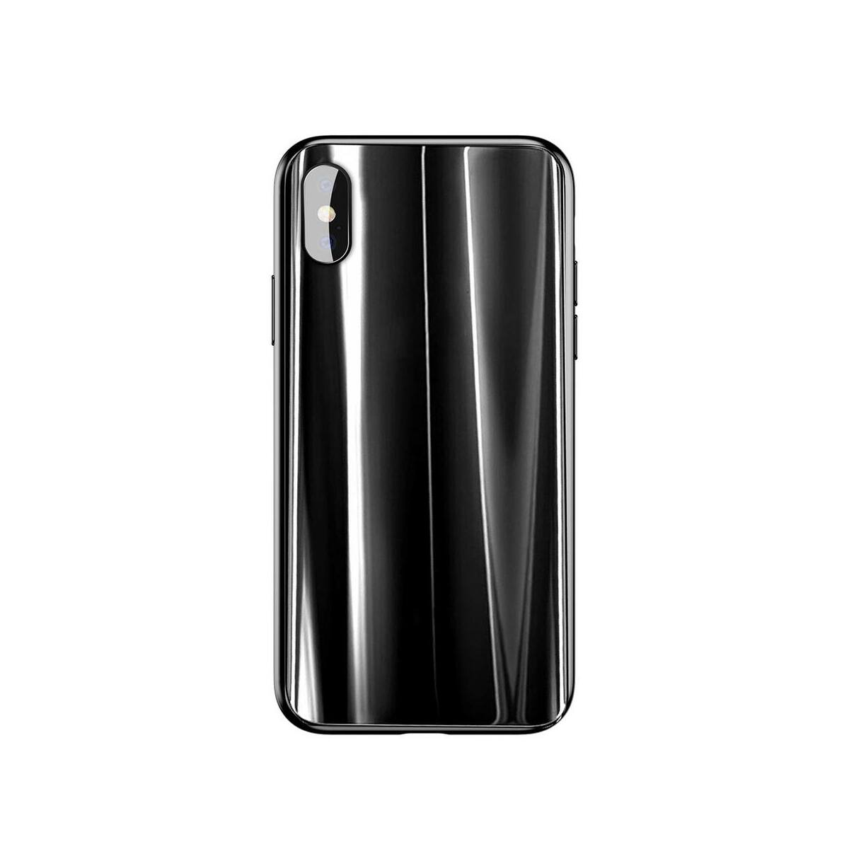 Baseus iPhone X/XS tok, Glass Sparkling, fekete (WIAPIPHX-KI01)