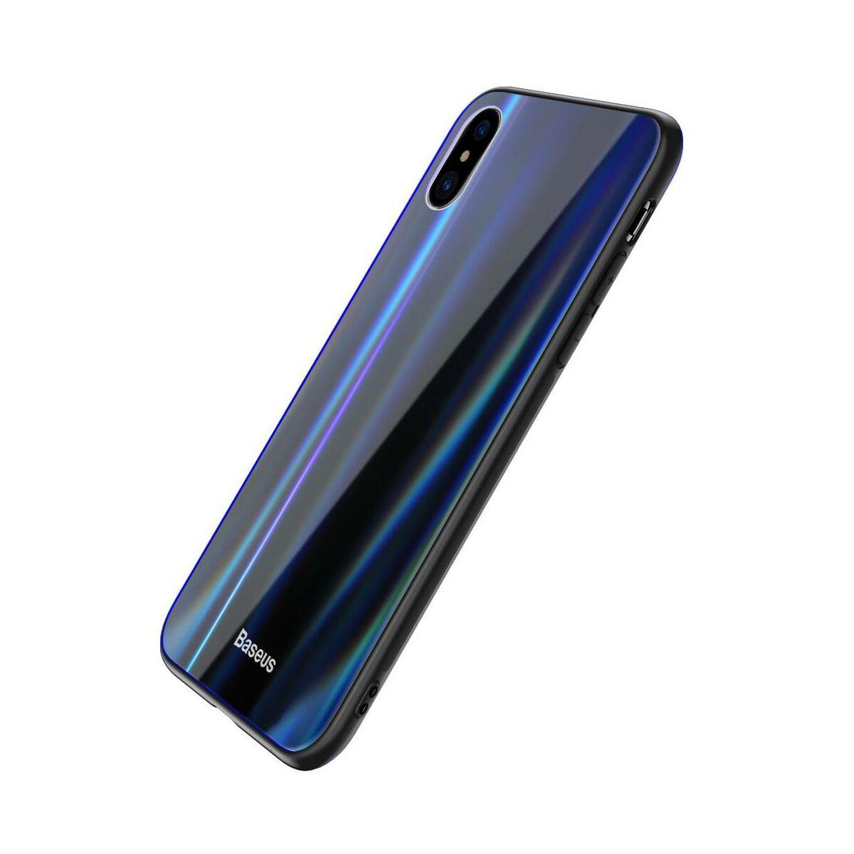Baseus iPhone X/XS tok, Laser Luster, fekete (WIAPIPHX-XC01)