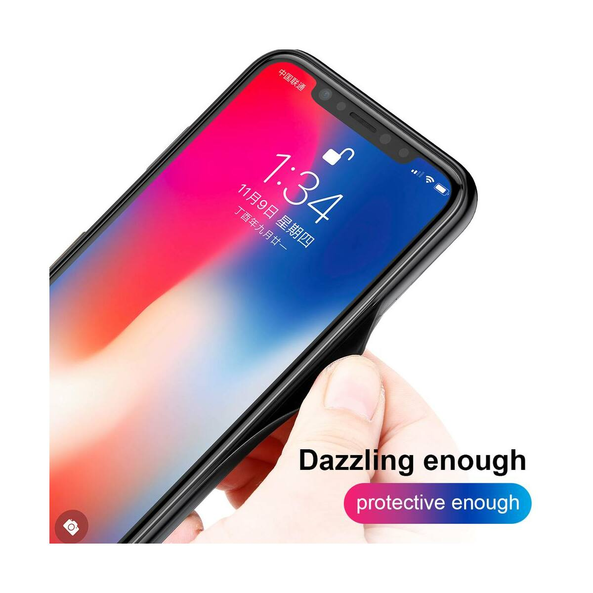 Baseus iPhone X/XS tok, Laser Luster, kék/piros (WIAPIPHX-XC39)
