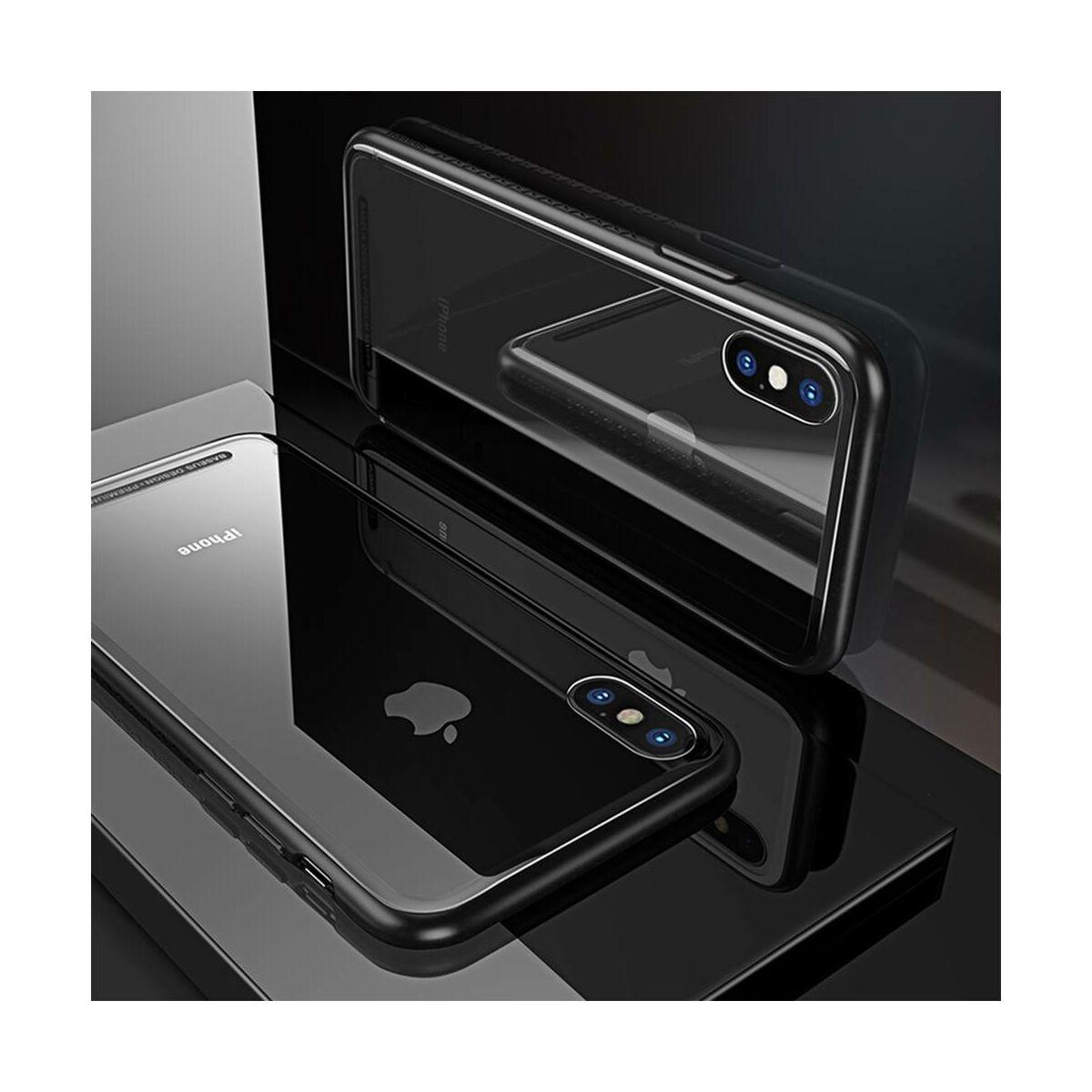 Baseus iPhone X/XS tok, átlátszó, oldalkerettel, fekete (WIAPIPHX-YS01)