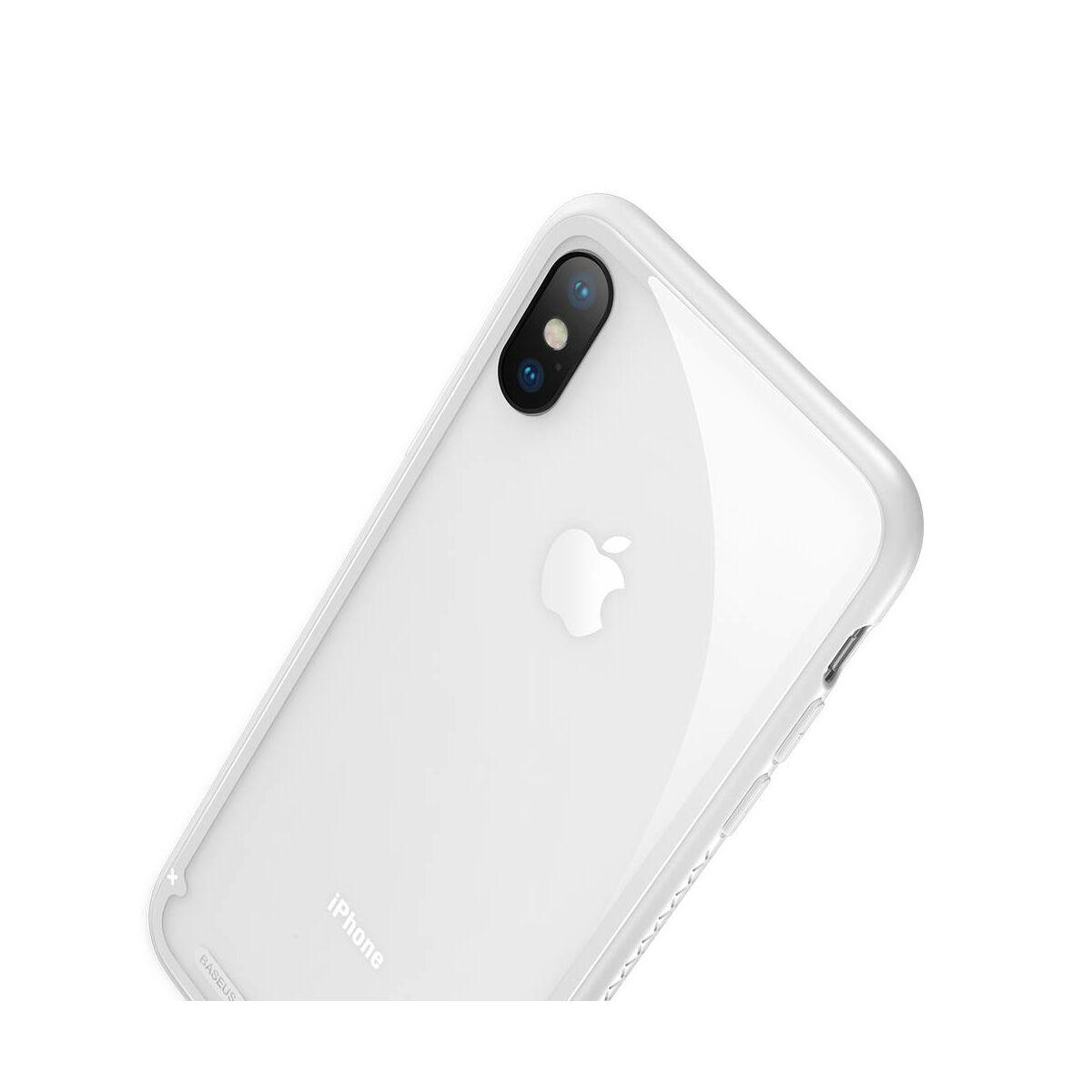 Baseus iPhone X/XS tok, átlátszó, oldalkerettel, fehér (WIAPIPHX-YS02)