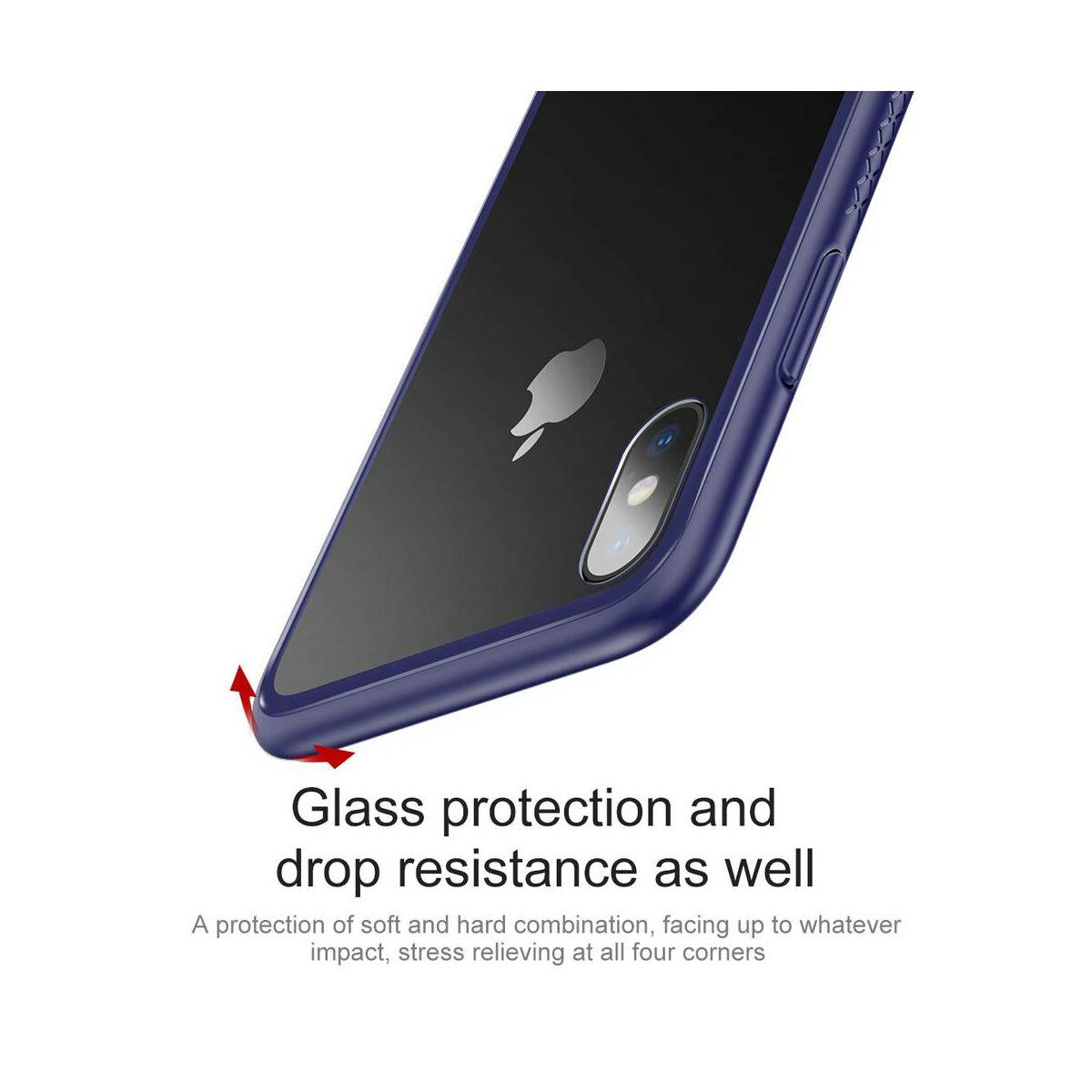 Baseus iPhone X/XS tok, átlátszó, oldalkerettel, kék (WIAPIPHX-YS03)