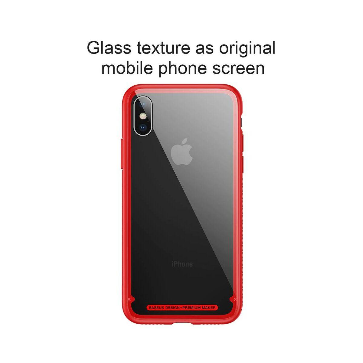 Baseus iPhone X/XS tok, átlátszó, oldalkerettel, piros (WIAPIPHX-YS09)