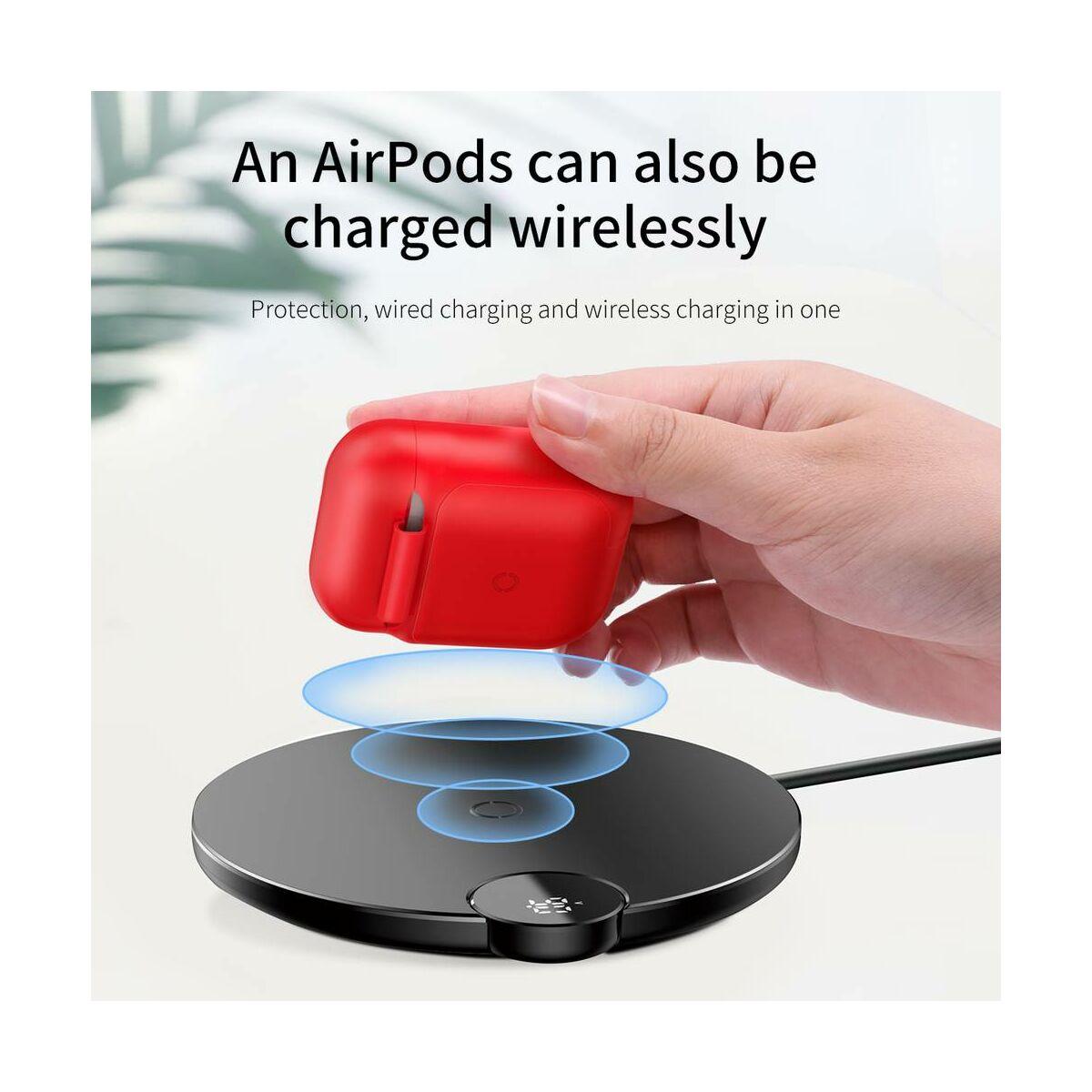 Baseus vezeték nélküli töltő, Airpodok-hoz, piros (WIAPPOD-09)