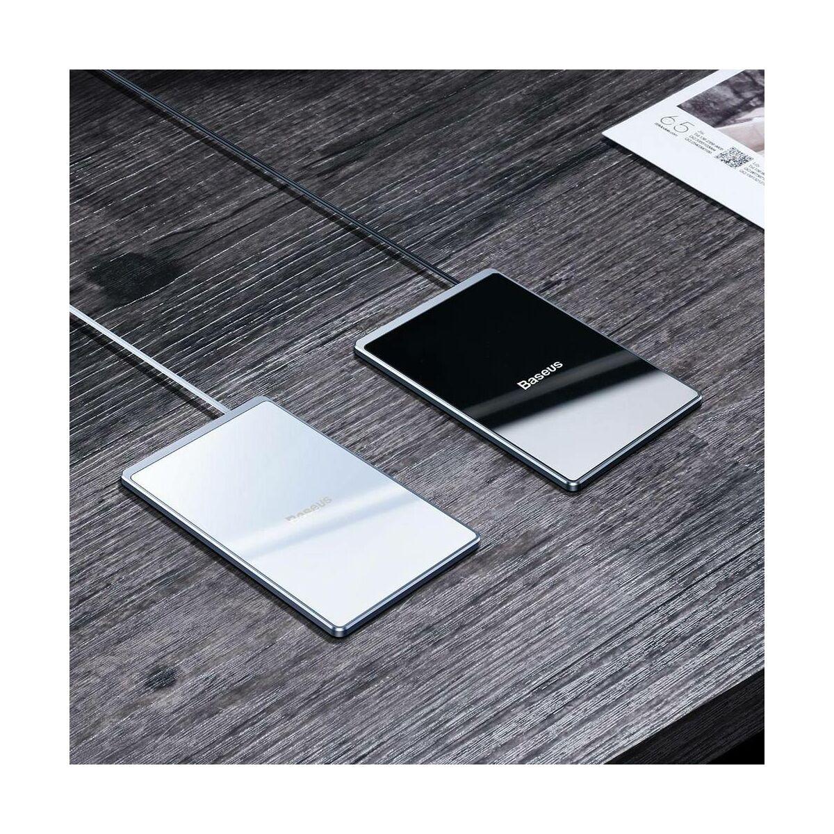 Baseus vezeték nélküli töltő, Ultra-thin Card 15W (beépített 1m USB kábellel), fekete (WX01B-01)