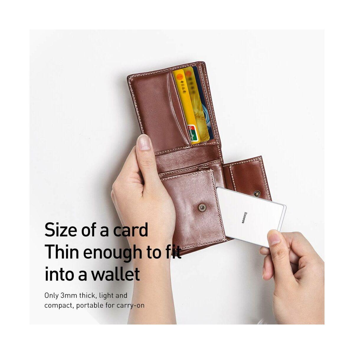 Baseus vezeték nélküli töltő, Ultra-thin Card 15W (beépített 1m USB kábellel), ezüst/fehér (WX01B-S2)