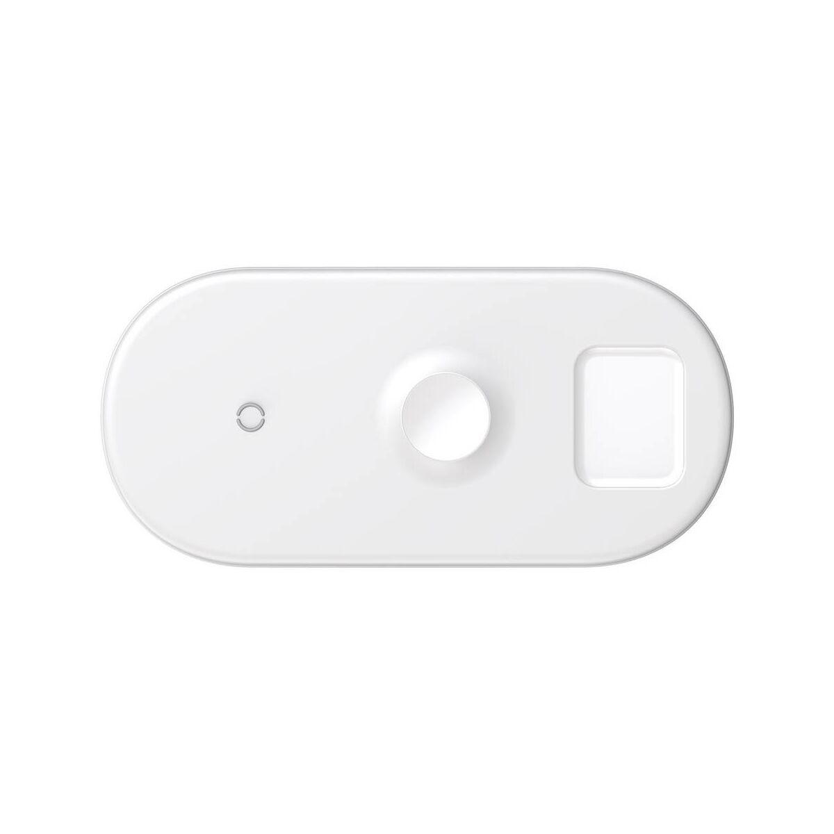 Baseus vezeték nélküli töltő, 3-in-1 (iPhone+Watch+Pods - 18W MAX), fehér (WX3-in-1-02)